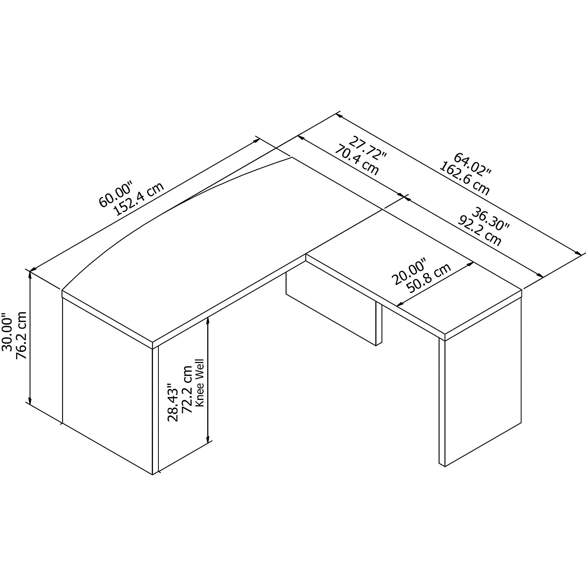 echo bow front l desk dimensions