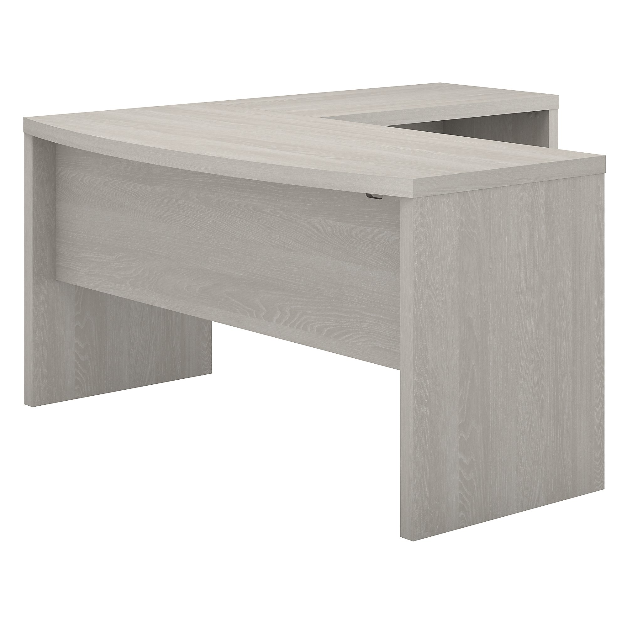 echo bow front l desk in gray sand
