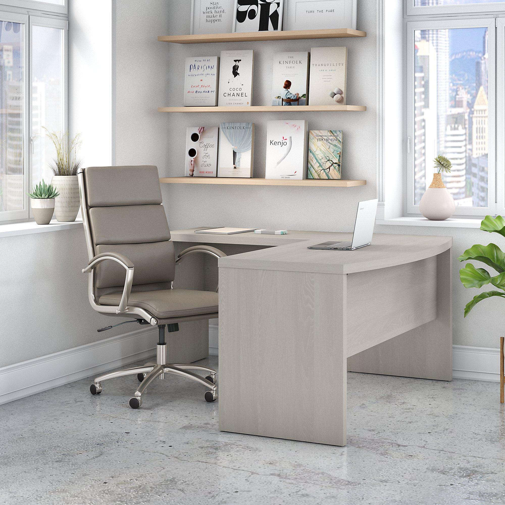 ech025 gray sand bow front l desk