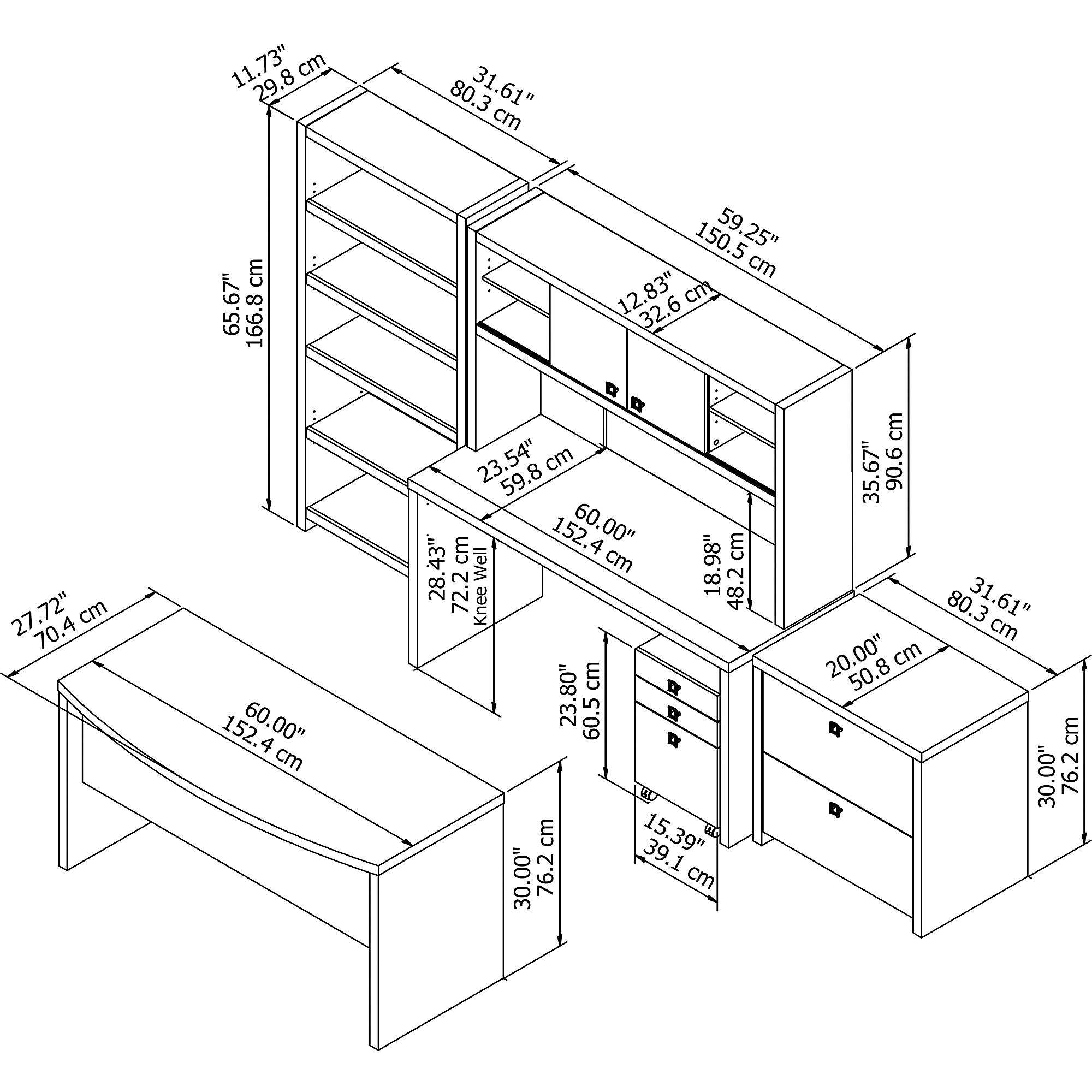 ech029 desk and component dimensions