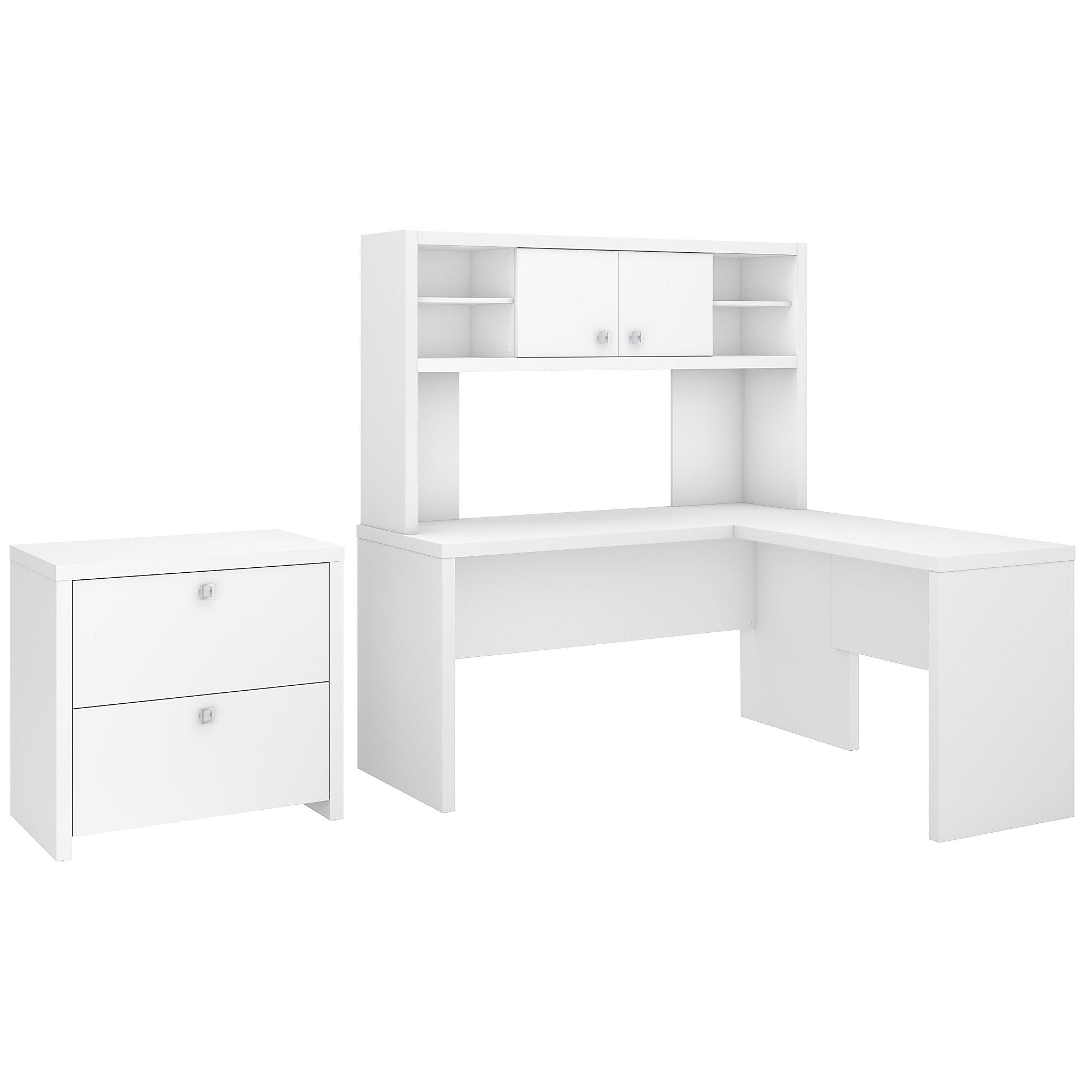 pure white echo l desk and file cabinet set