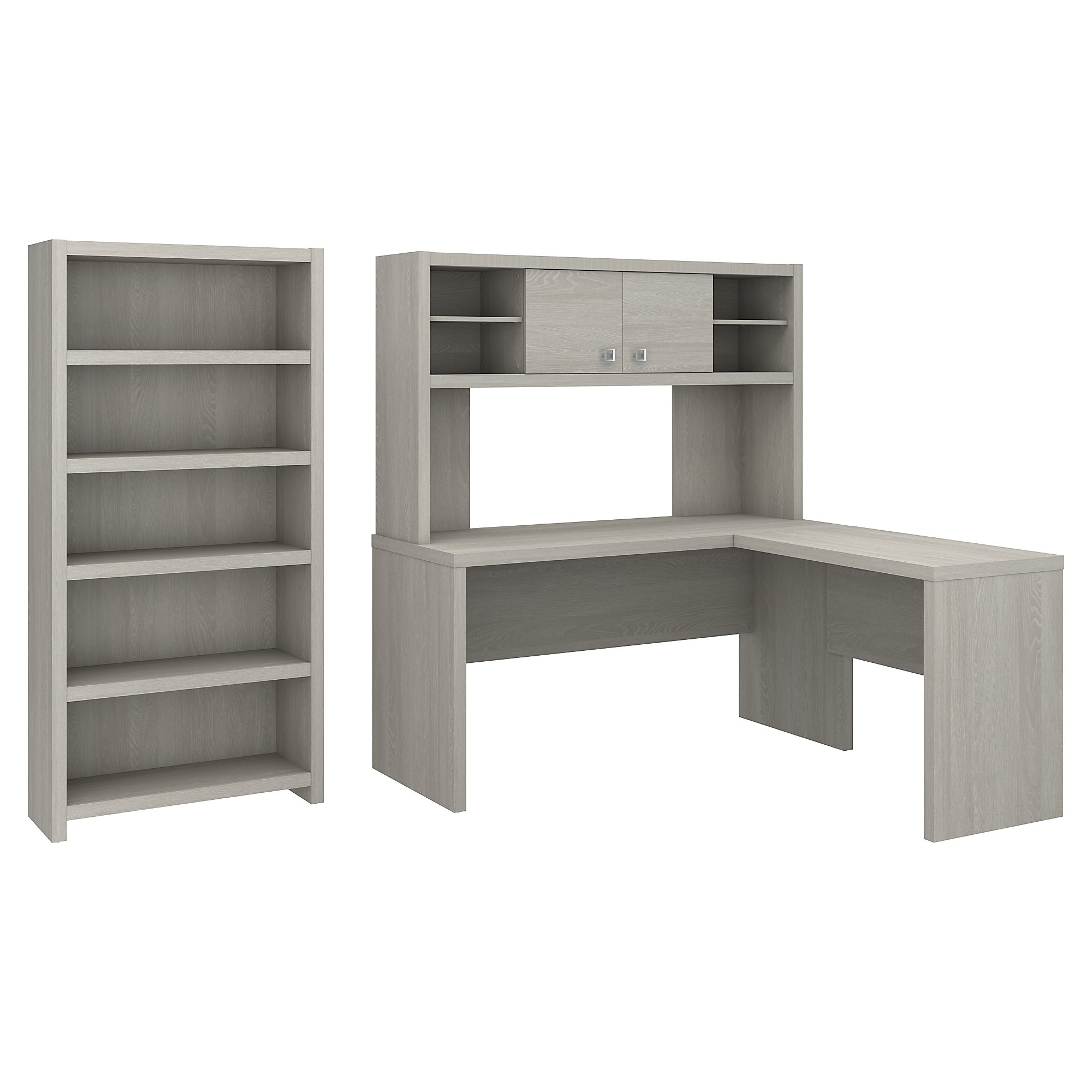 gray sand echo l desk with bookcase by kathy ireland