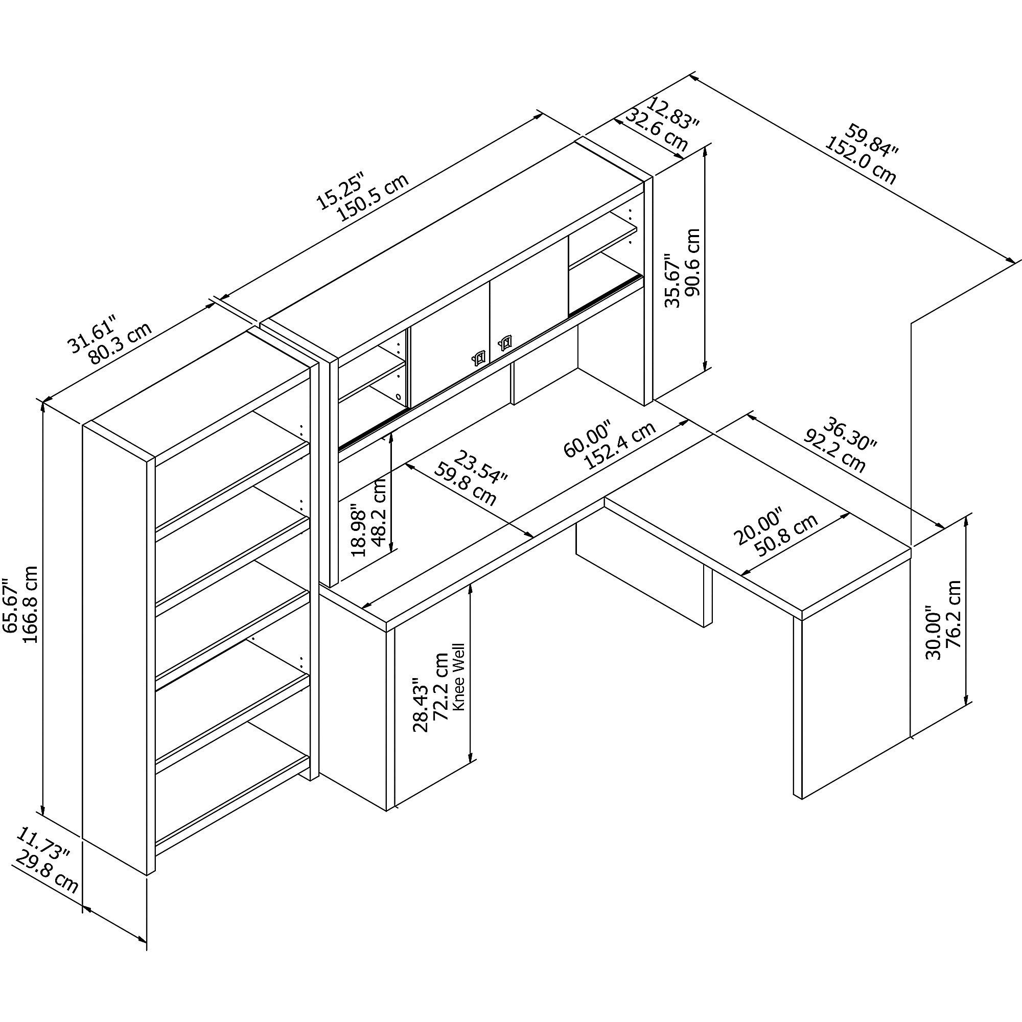 ech033 desk component dimensions