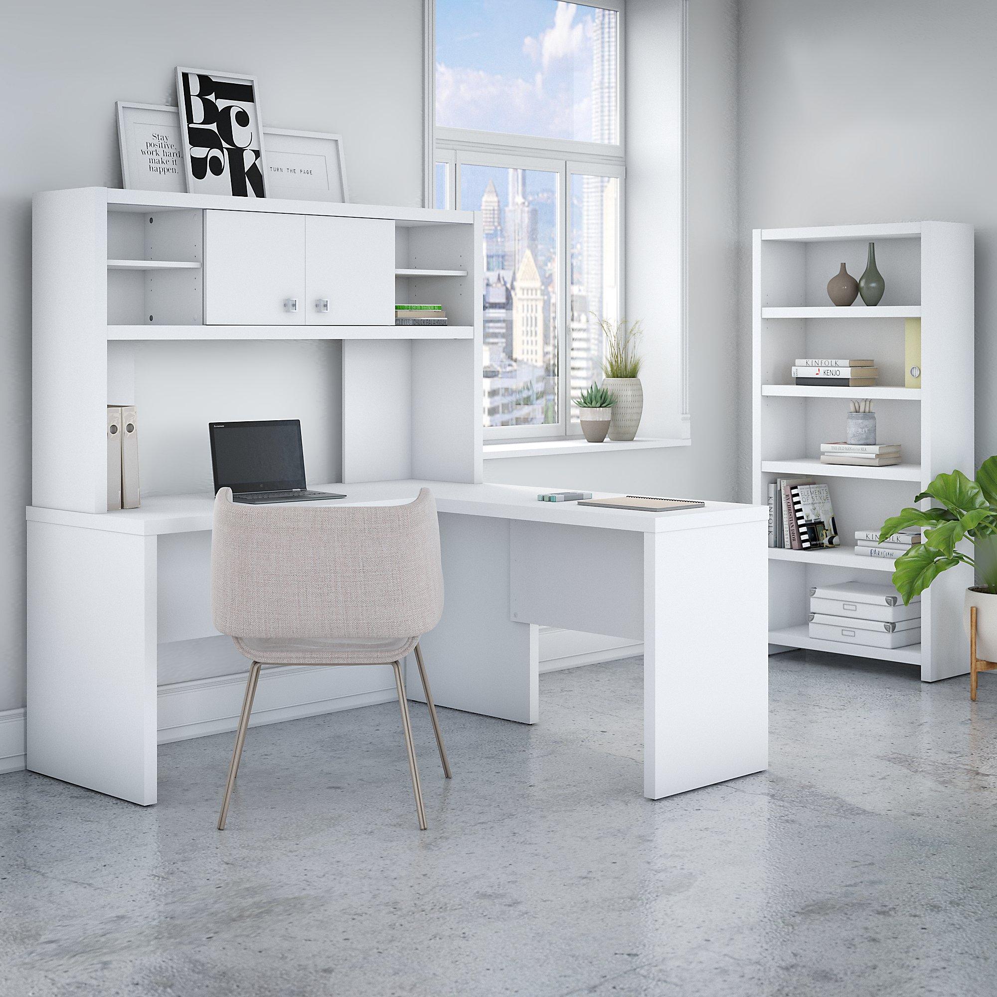 pure white echo l desk with bookcase