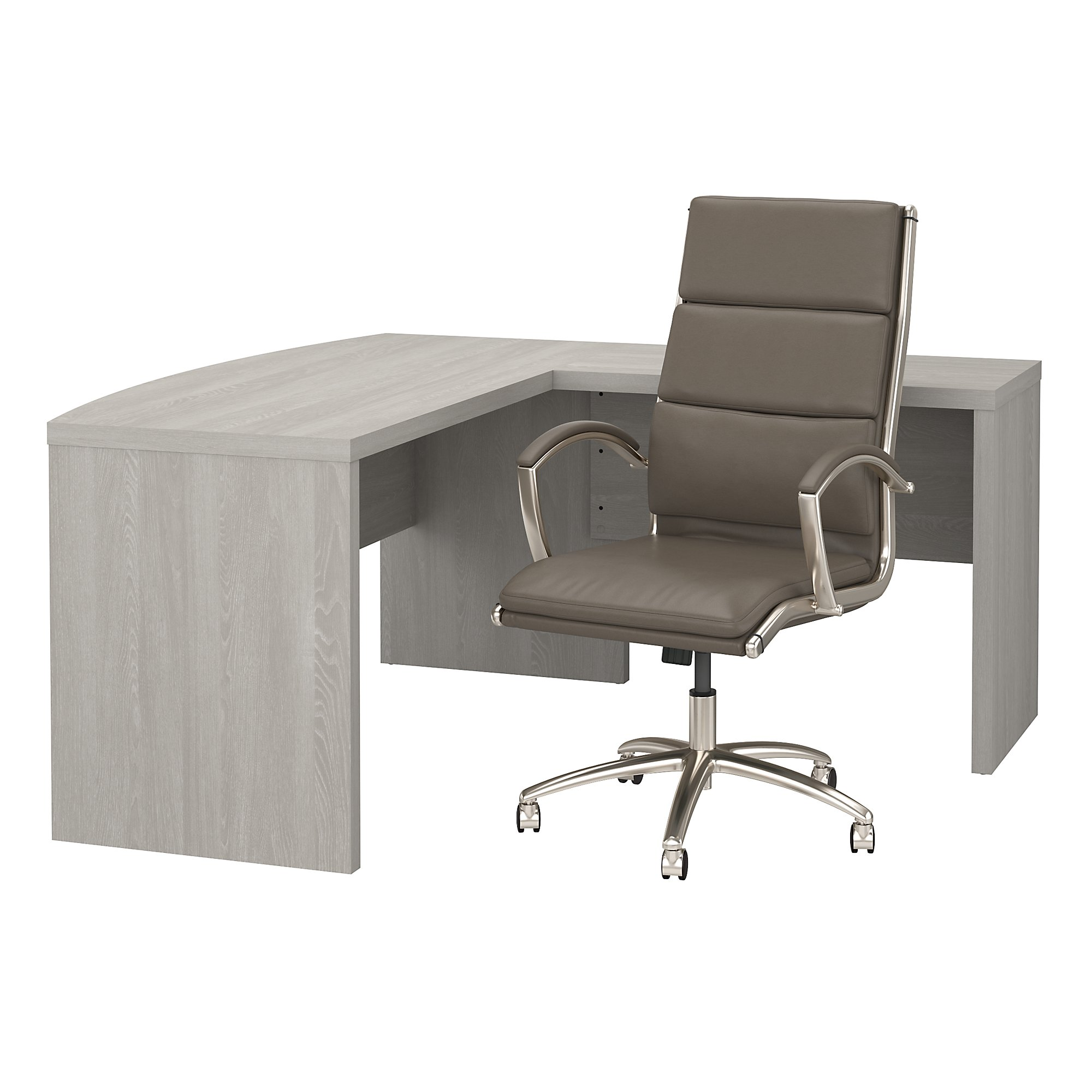 echo bow front l shaped desk and leather office chair set