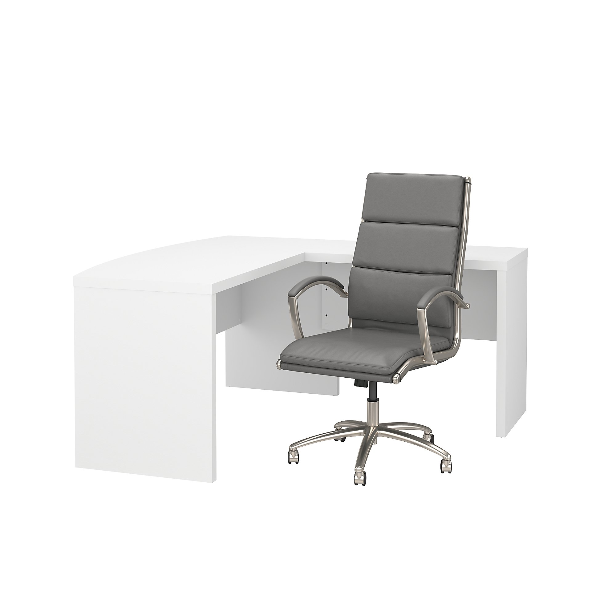 echo l shaped desk and leather office chair set in pure white