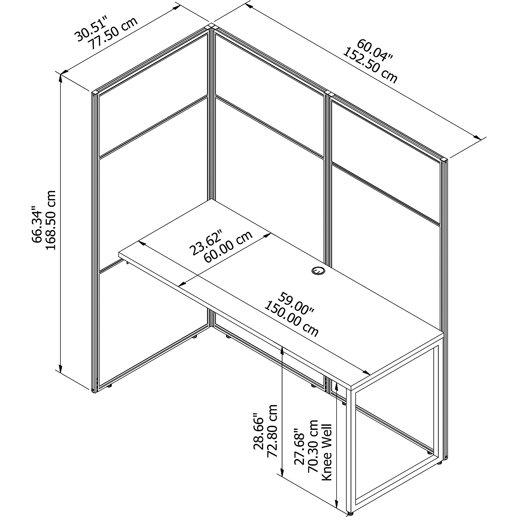 easy office cubicle workstation dimensions line drawing