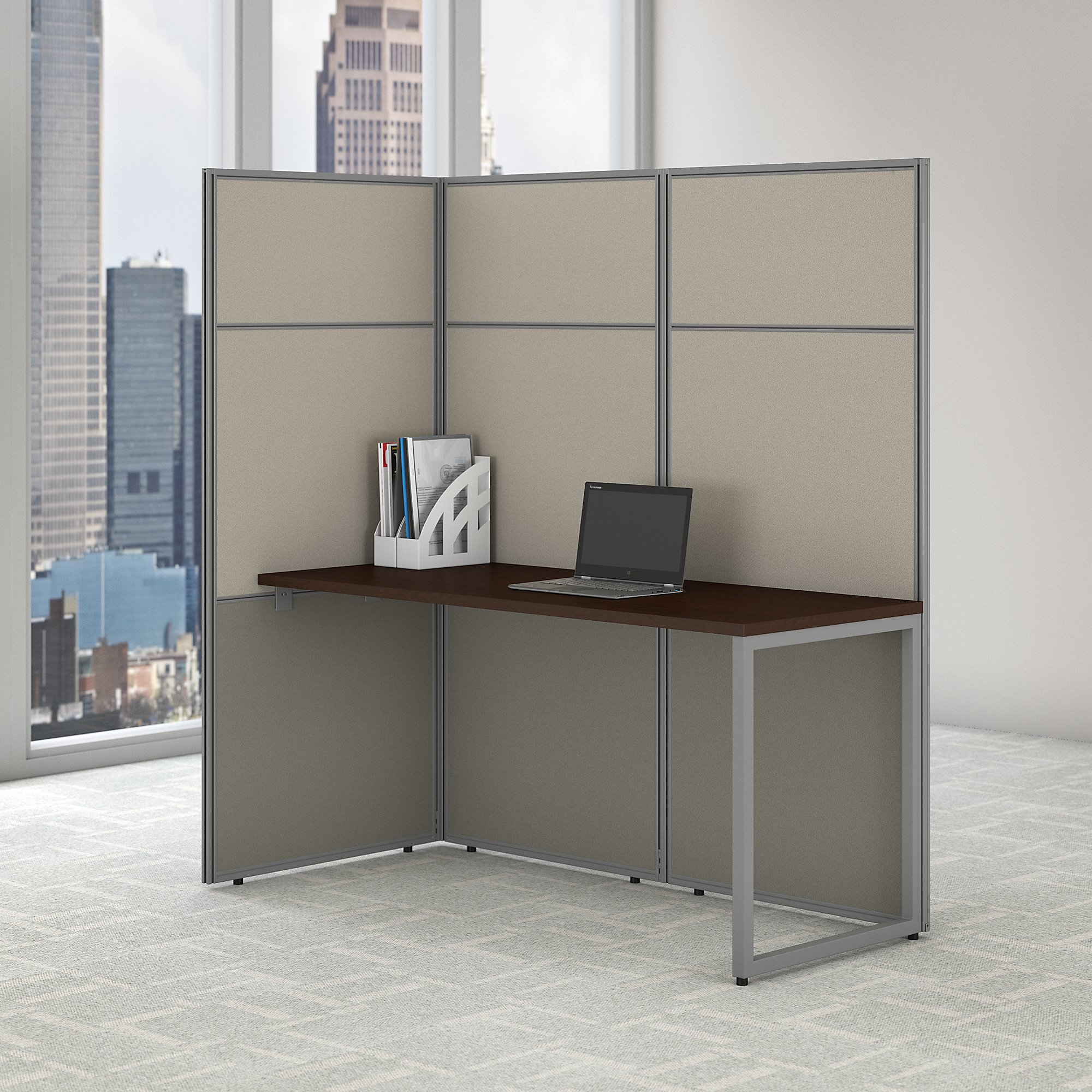 easy office mocha cherry cubicle with 66h panels