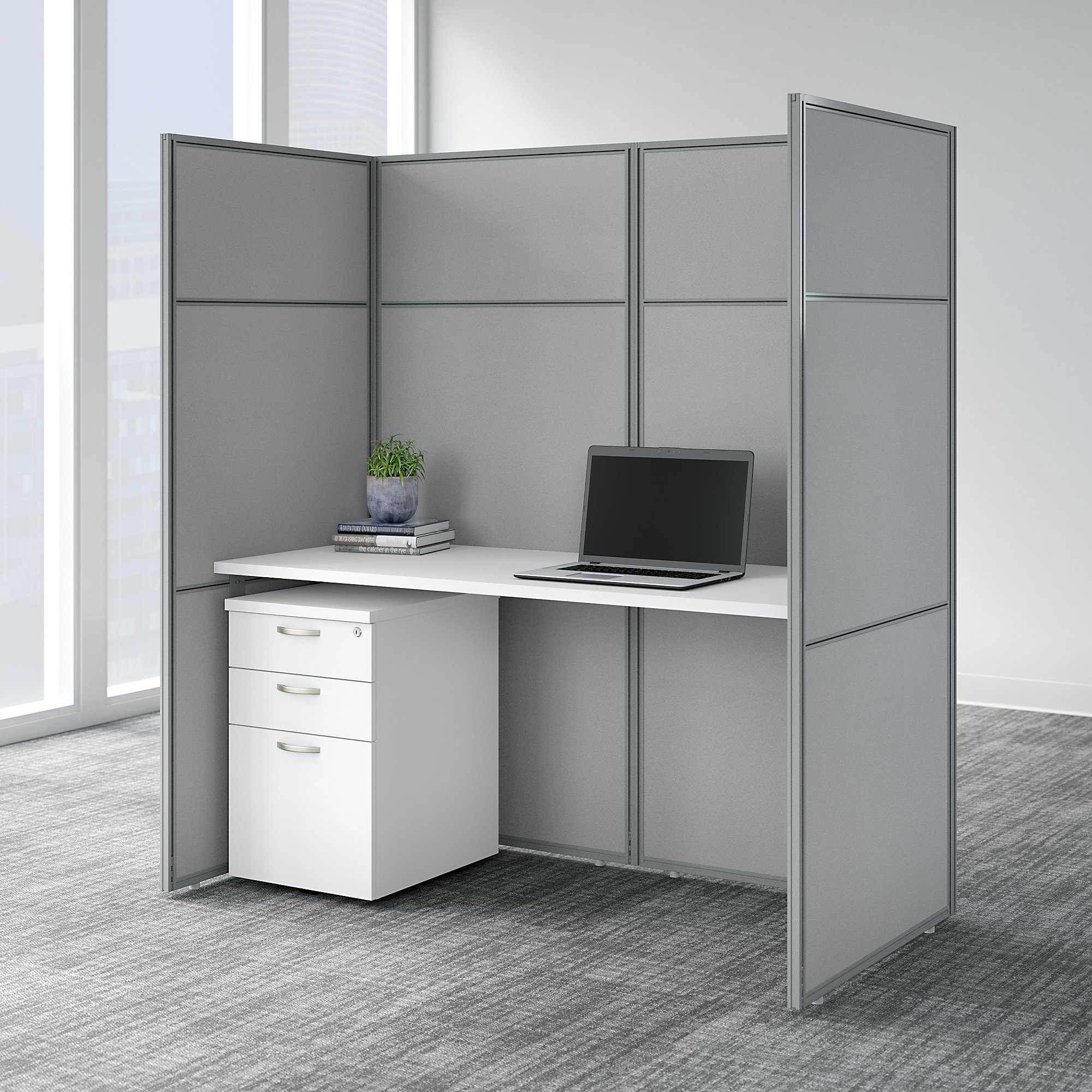 Picture of: Bush Business Furniture Easy Office 60w Cubicle Desk With File Cabinet And 66h Closed Panels