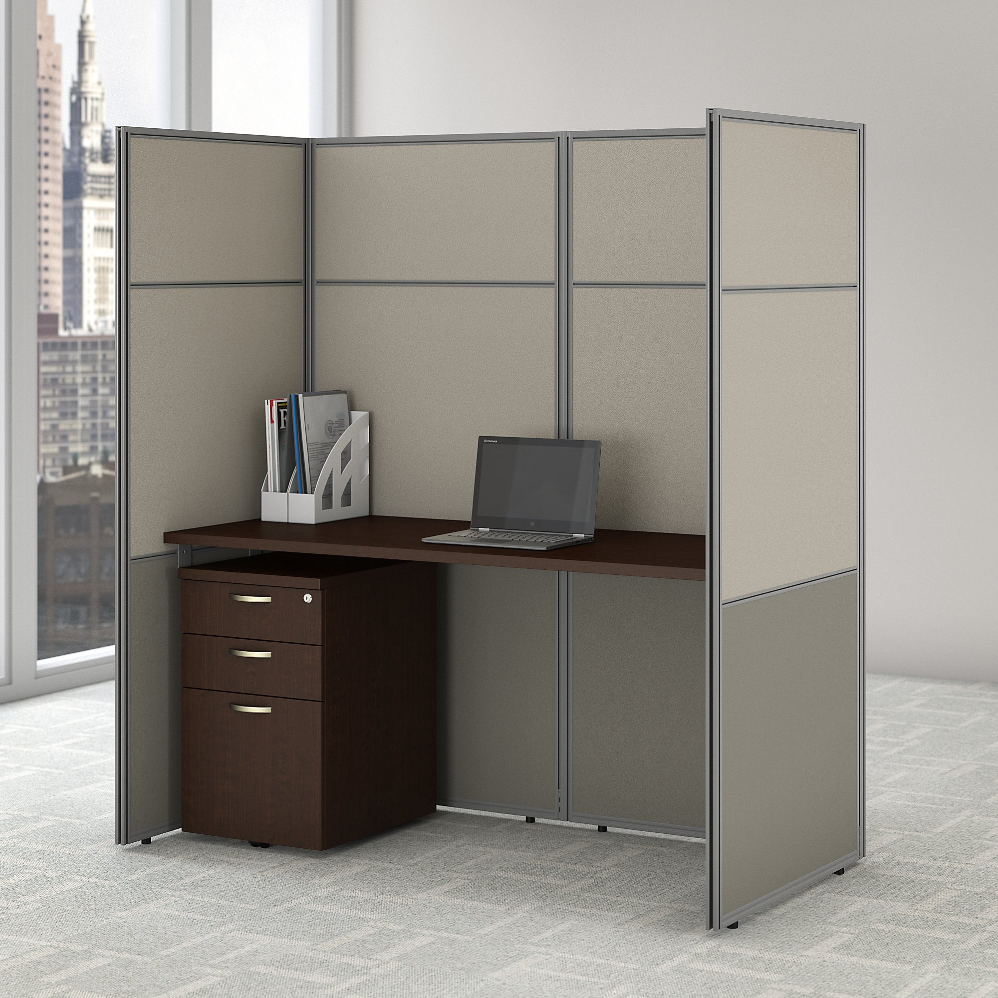 easy office closed cubicle workstation in mocha cherry