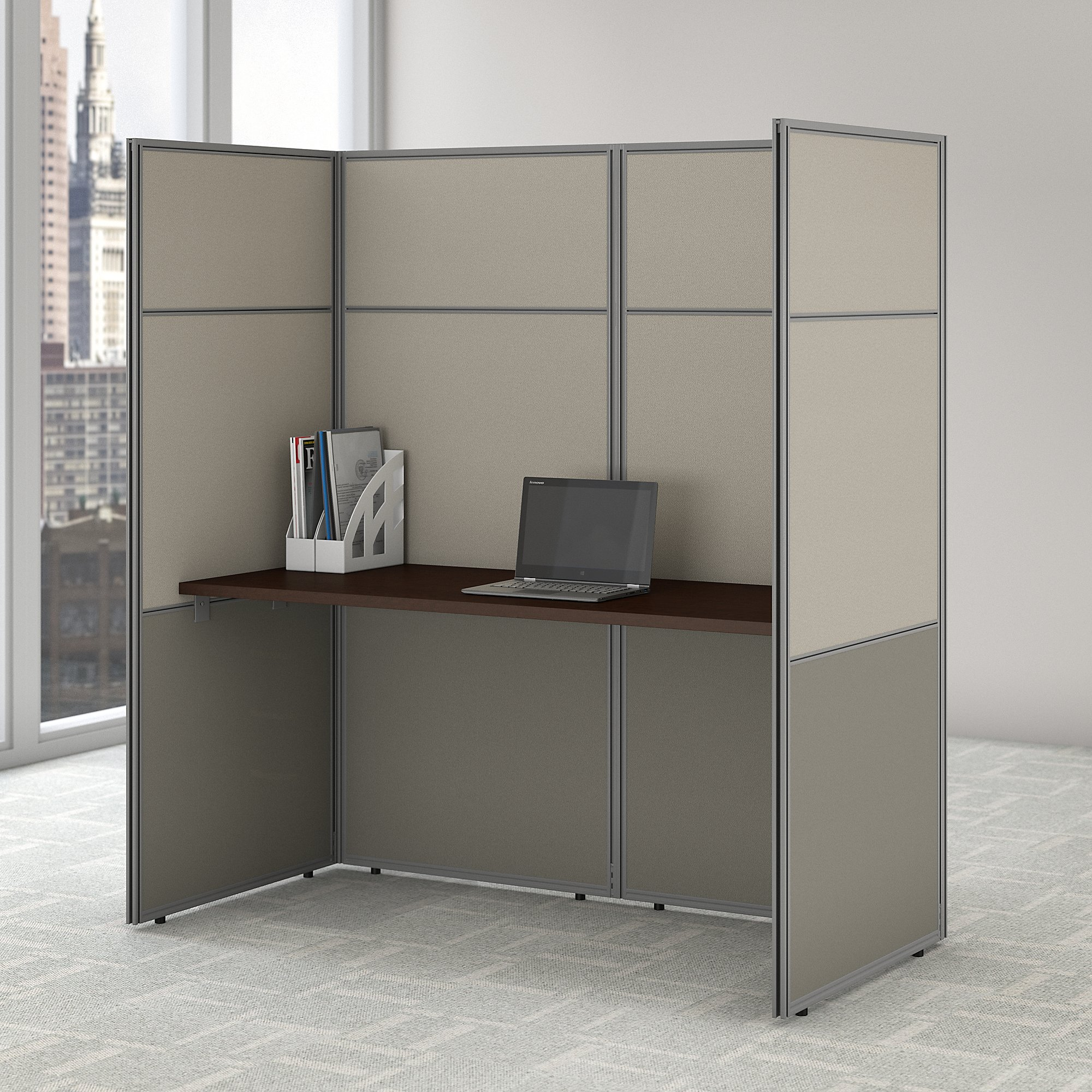 easy office personal cubicle in mocha cherry