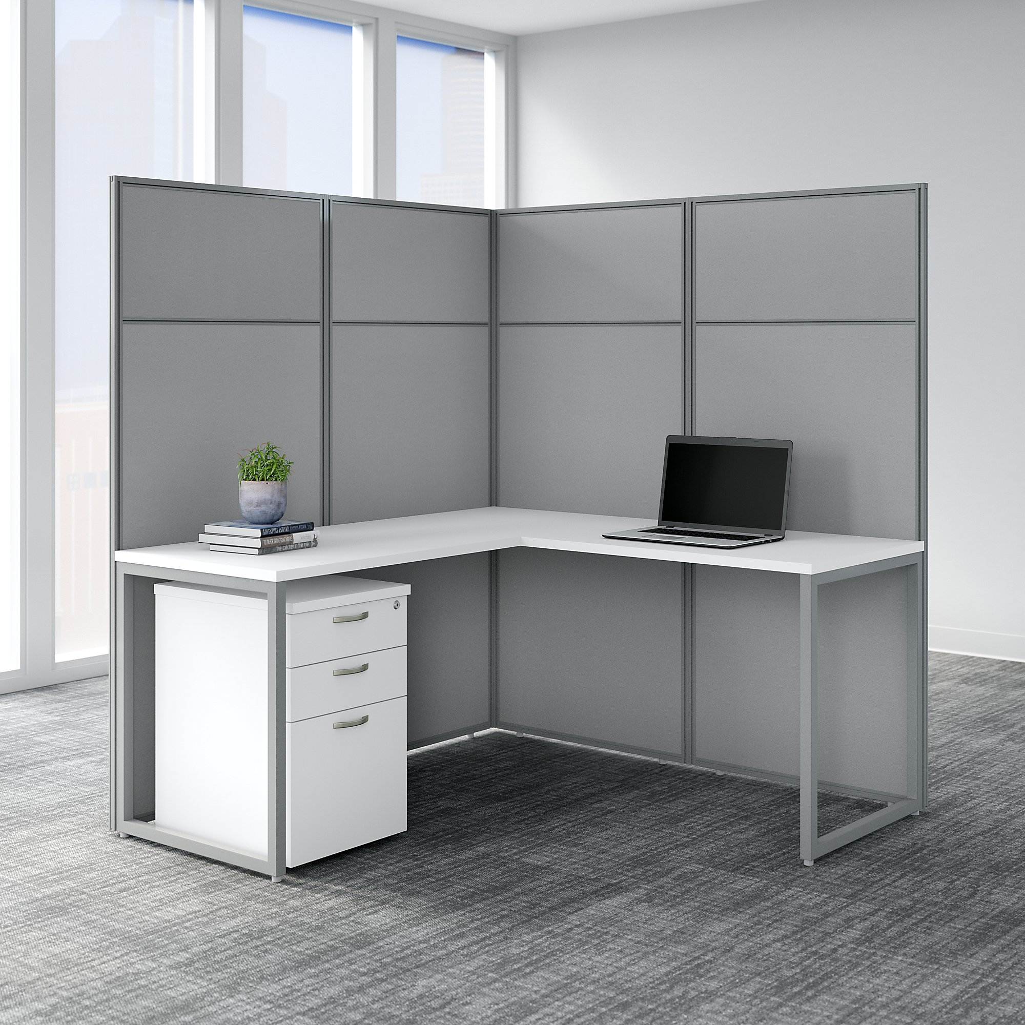 easy office l shaped privacy cubicle in pure white