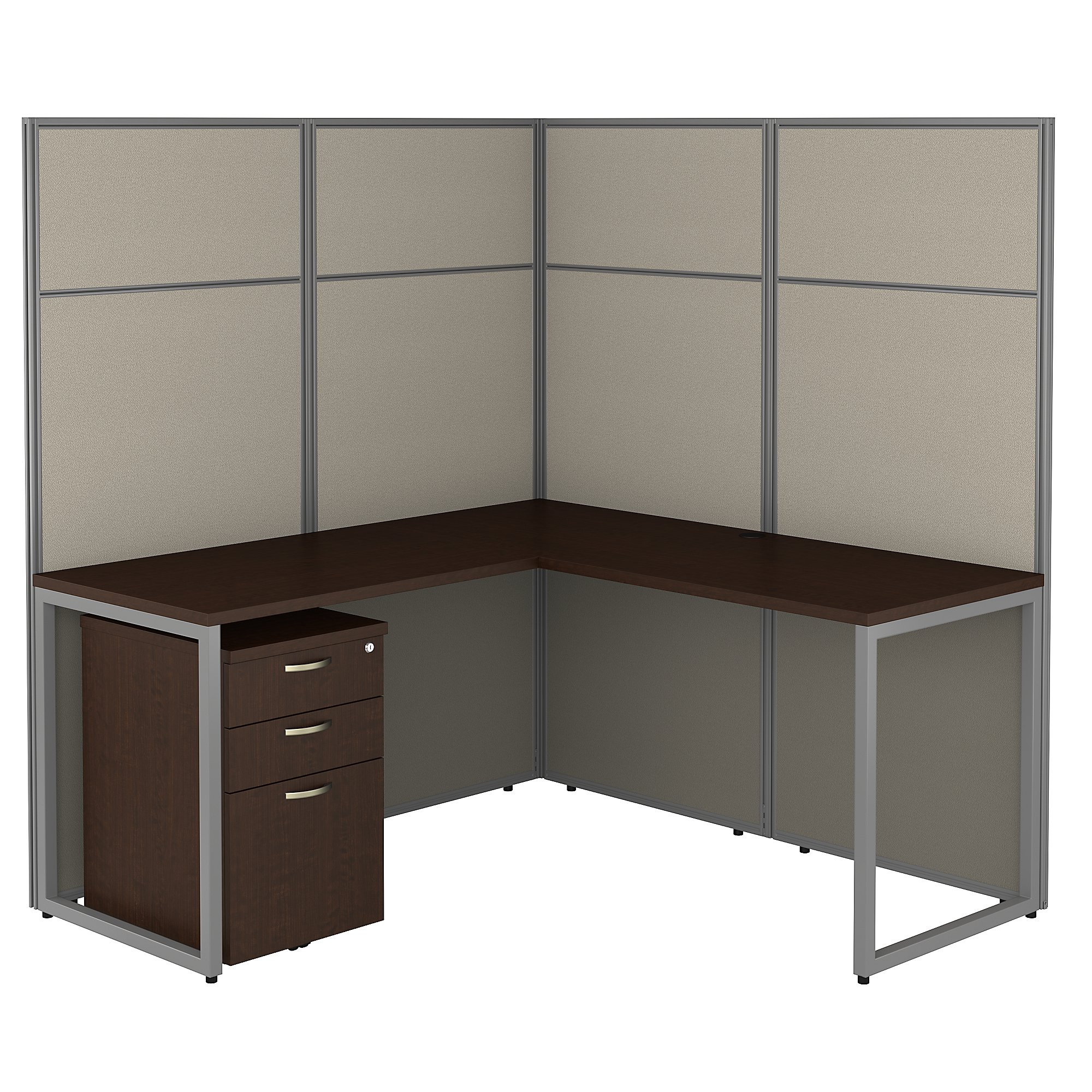 mocha cherry easy office l shaped privacy cubicle