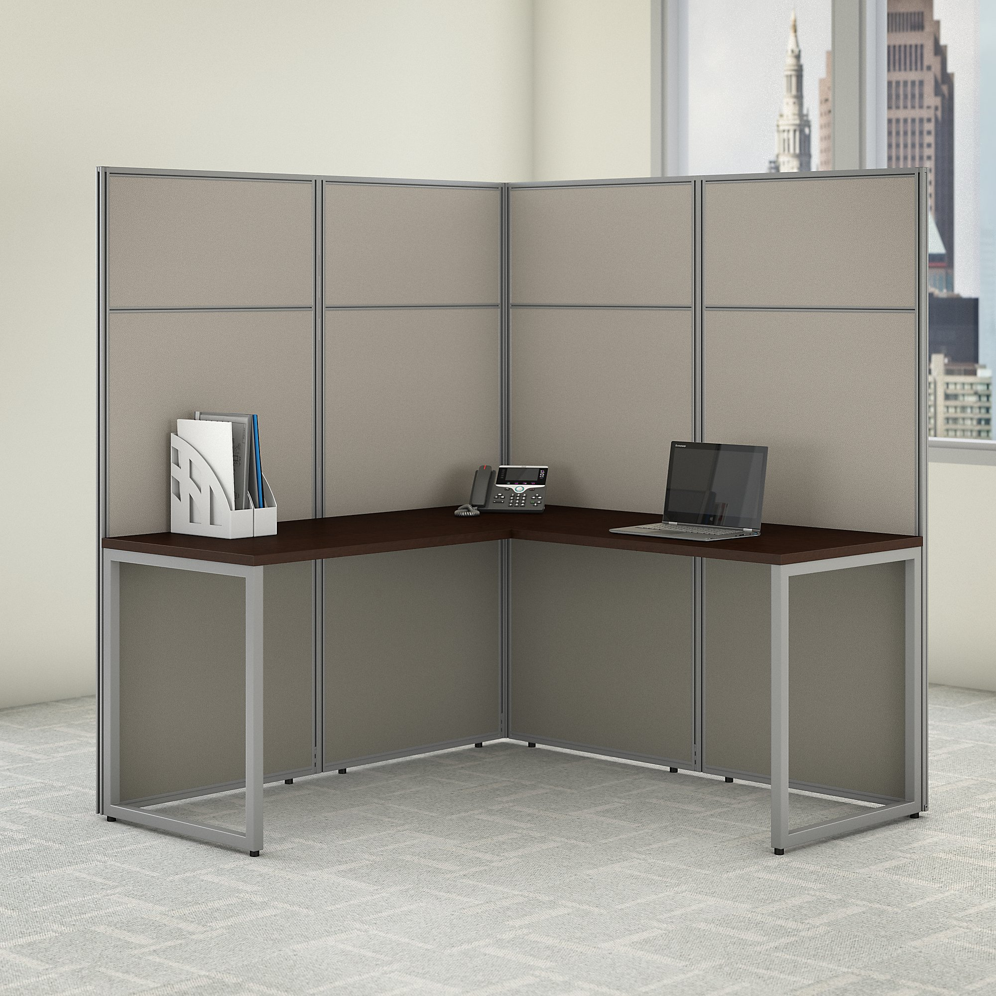 bush business furniture easy office l shaped cubicle in mocha cherry
