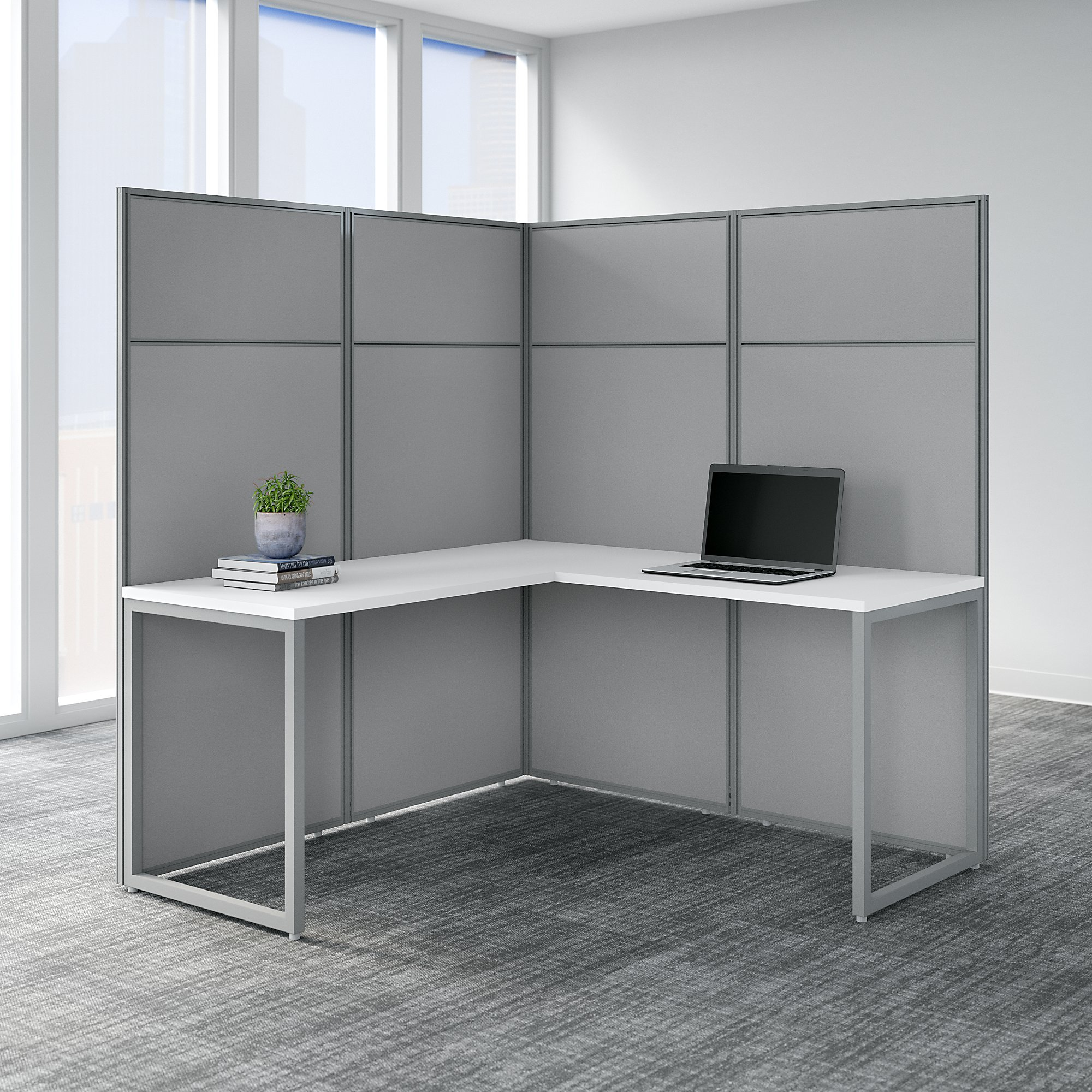 bush business furniture easy office l shaped cubicle in pure white