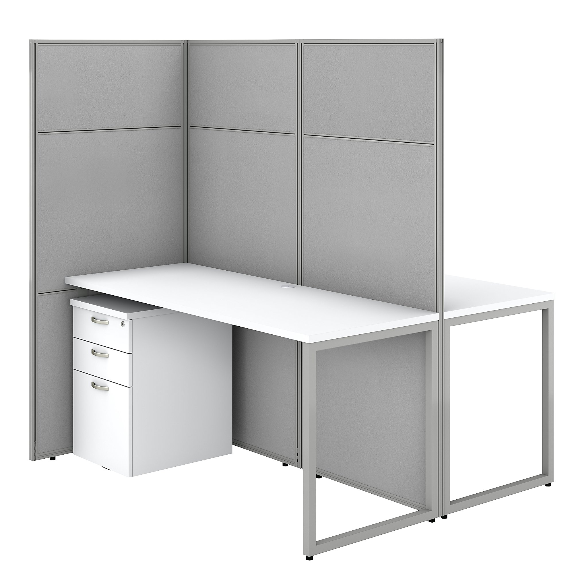 pure white bush business furniture easy office 2 person privacy cubicle