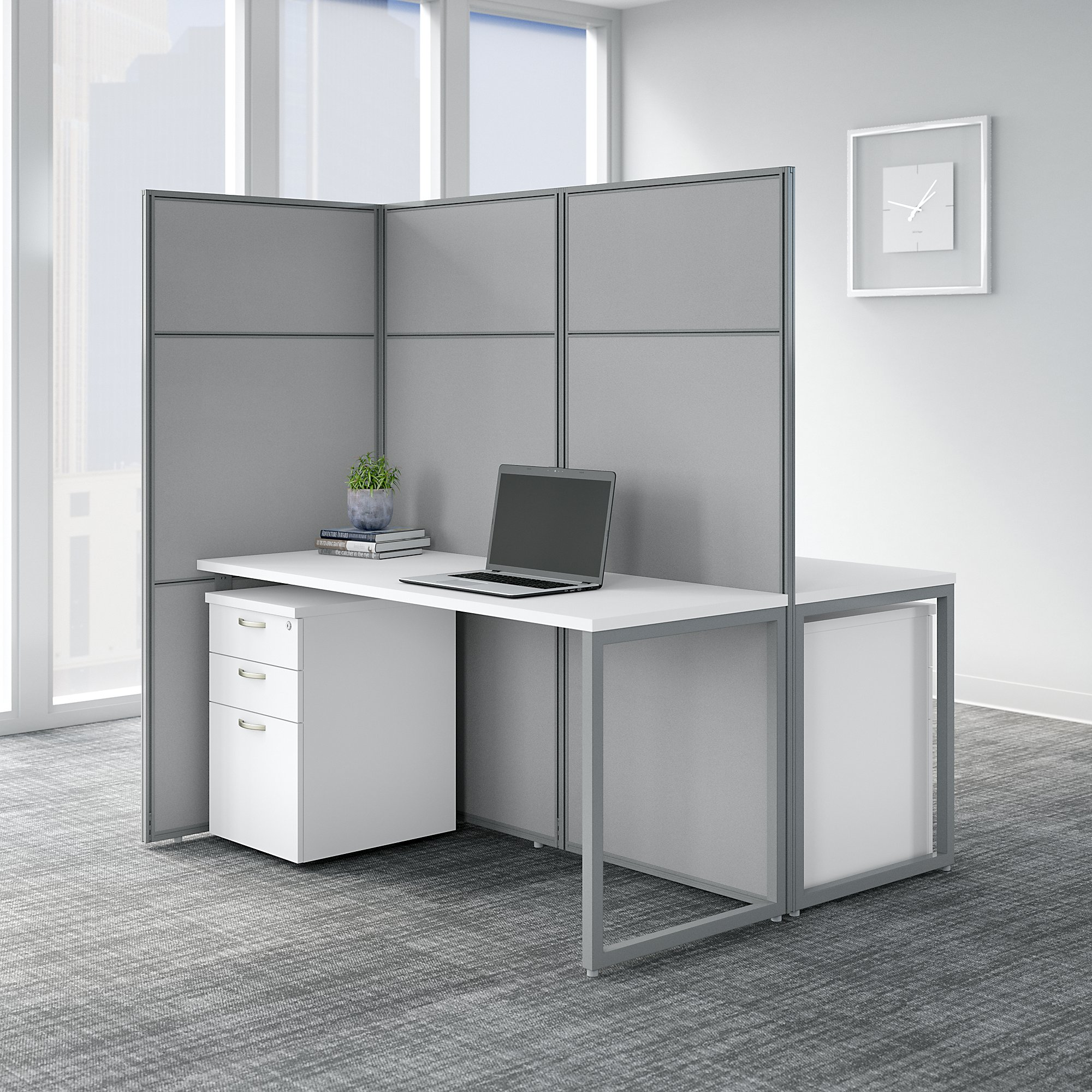 bush business furniture easy office 2 person privacy cubicle in pure white
