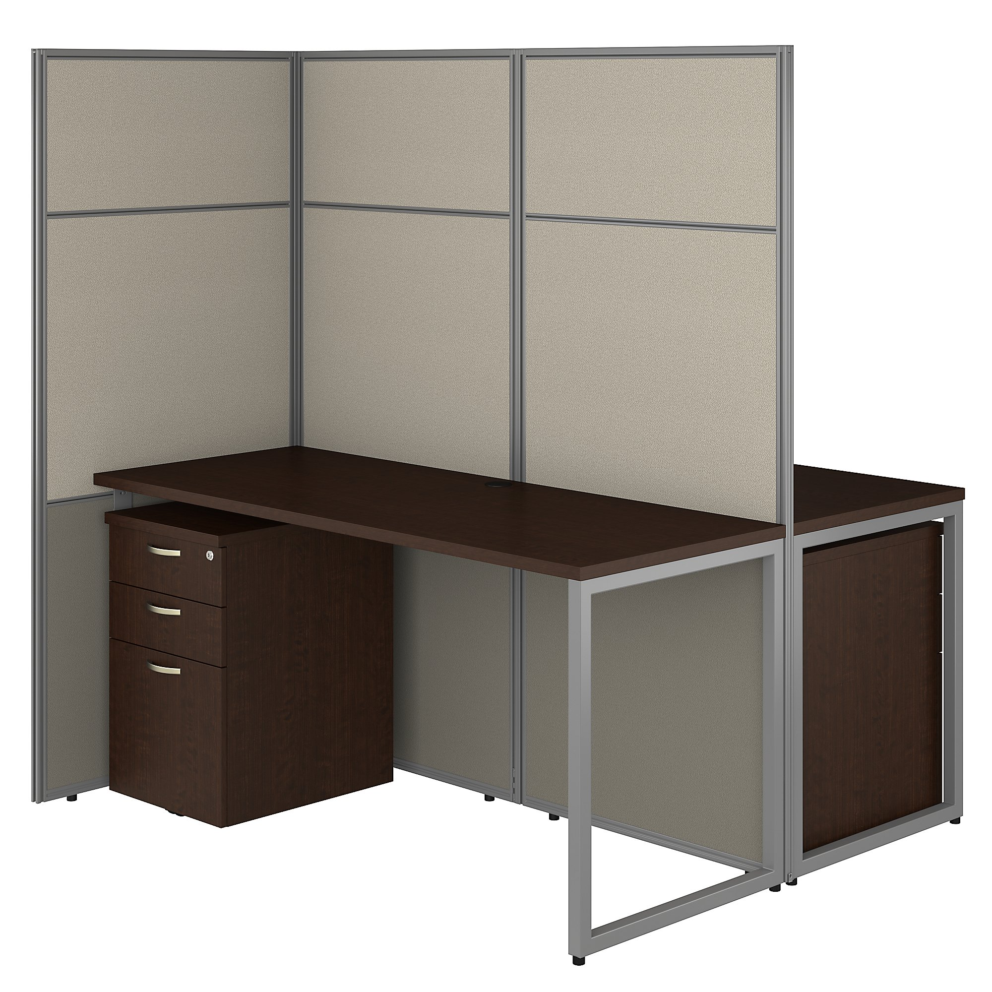 mocha cherry bush business furniture easy office 2 person privacy cubicle
