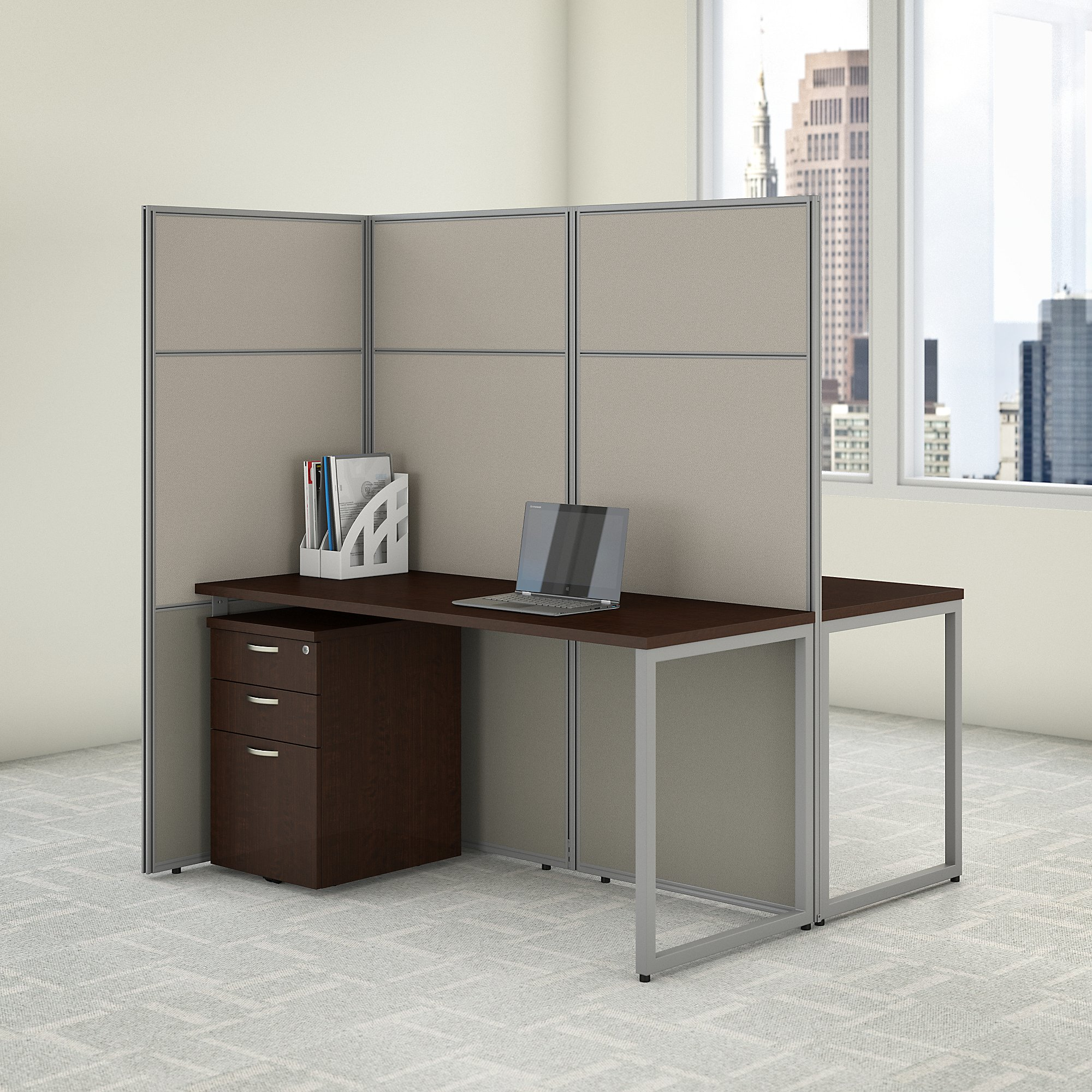 bush business furniture easy office 2 person privacy cubicle in mocha cherry