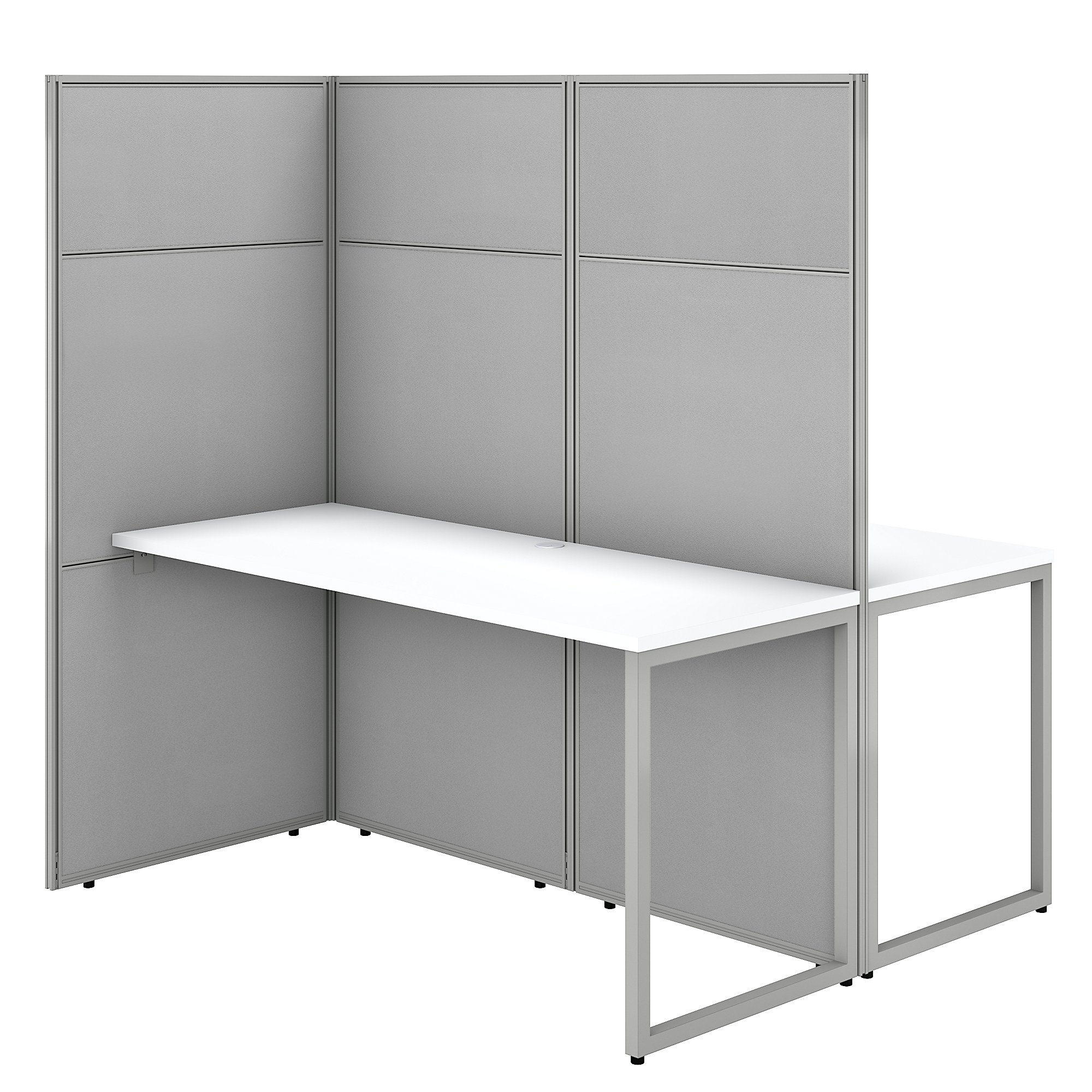 pure white easy office 2 person privacy workstation