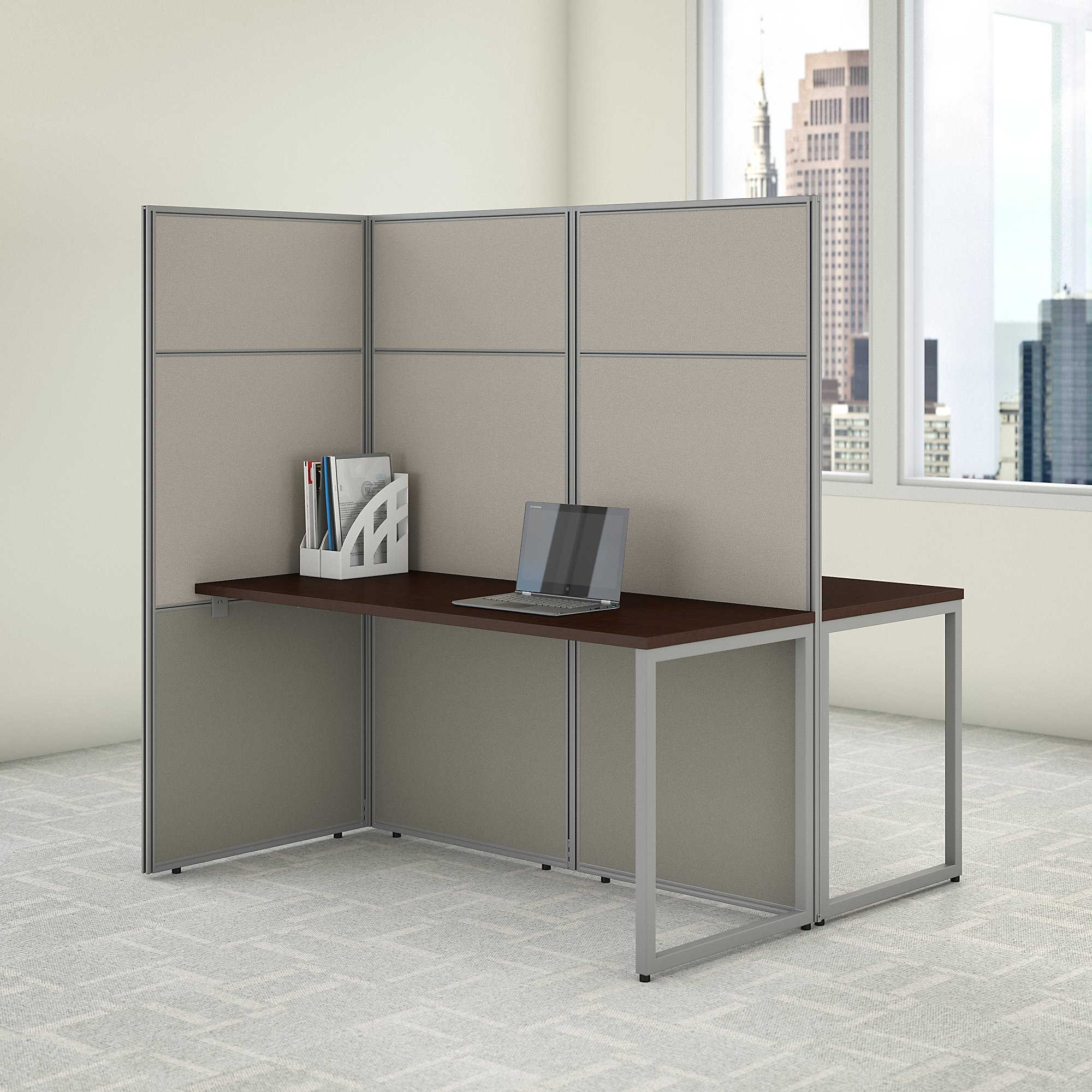 easy office 2 person privacy workstation in mocha cherry