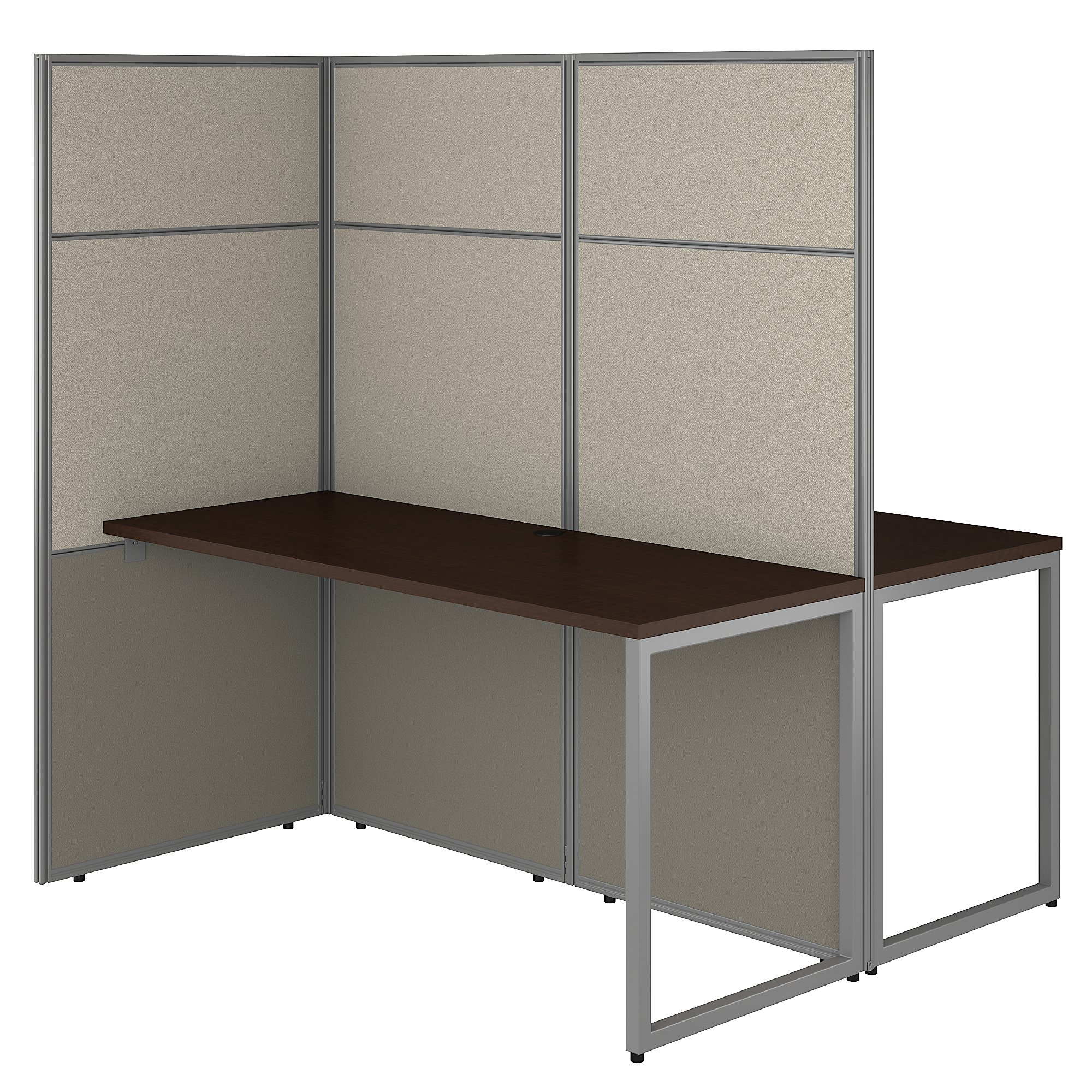 mocha cherry easy office 2 person privacy workstation