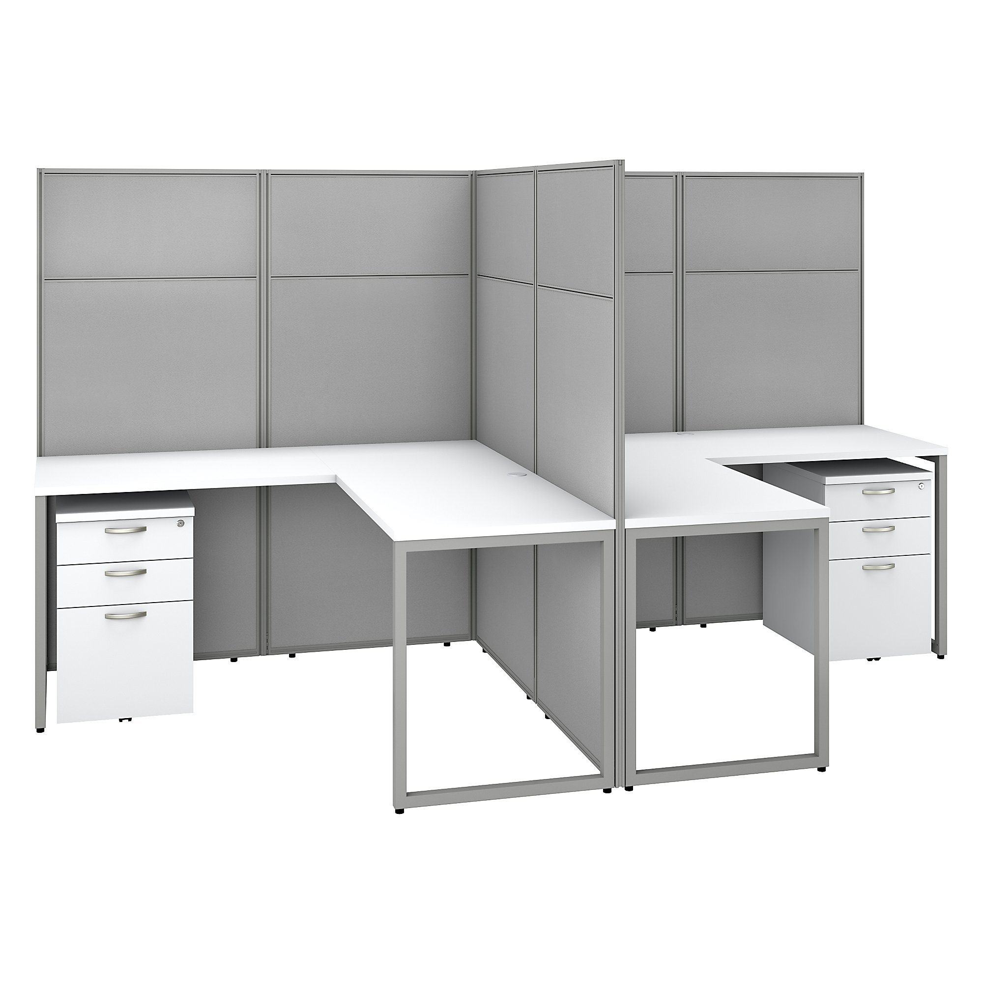 pure white 2 person l shaped cubicle workstation