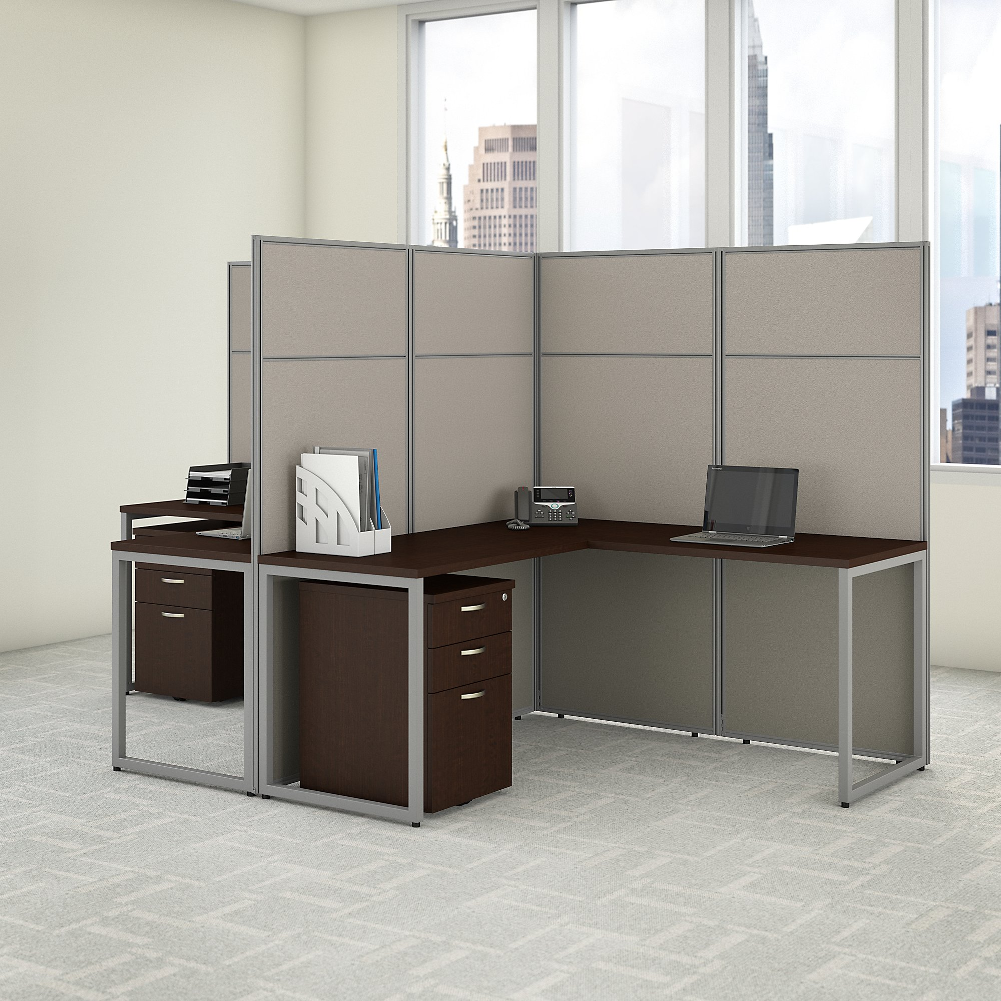 2 person l shaped cubicle workstation in mocha cherry