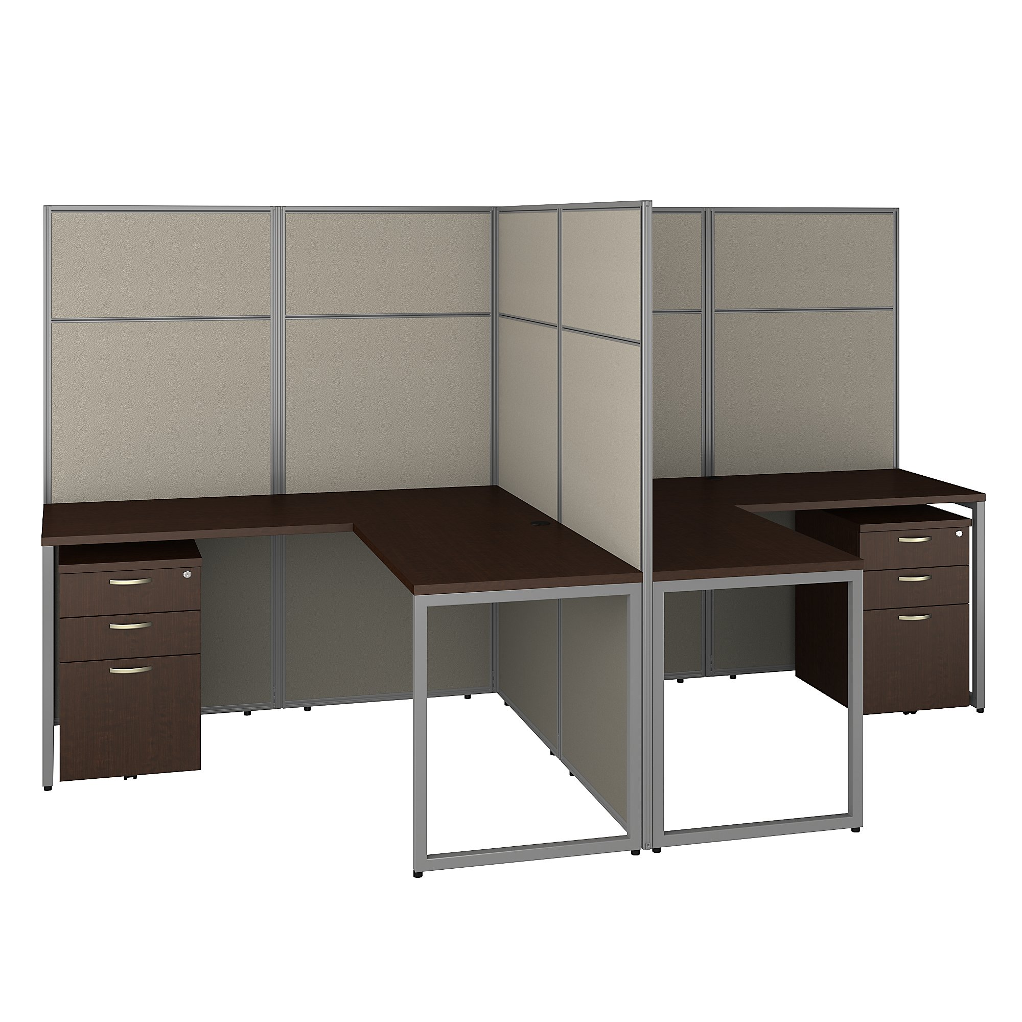 mocha cherry 2 person l shaped cubicle workstation