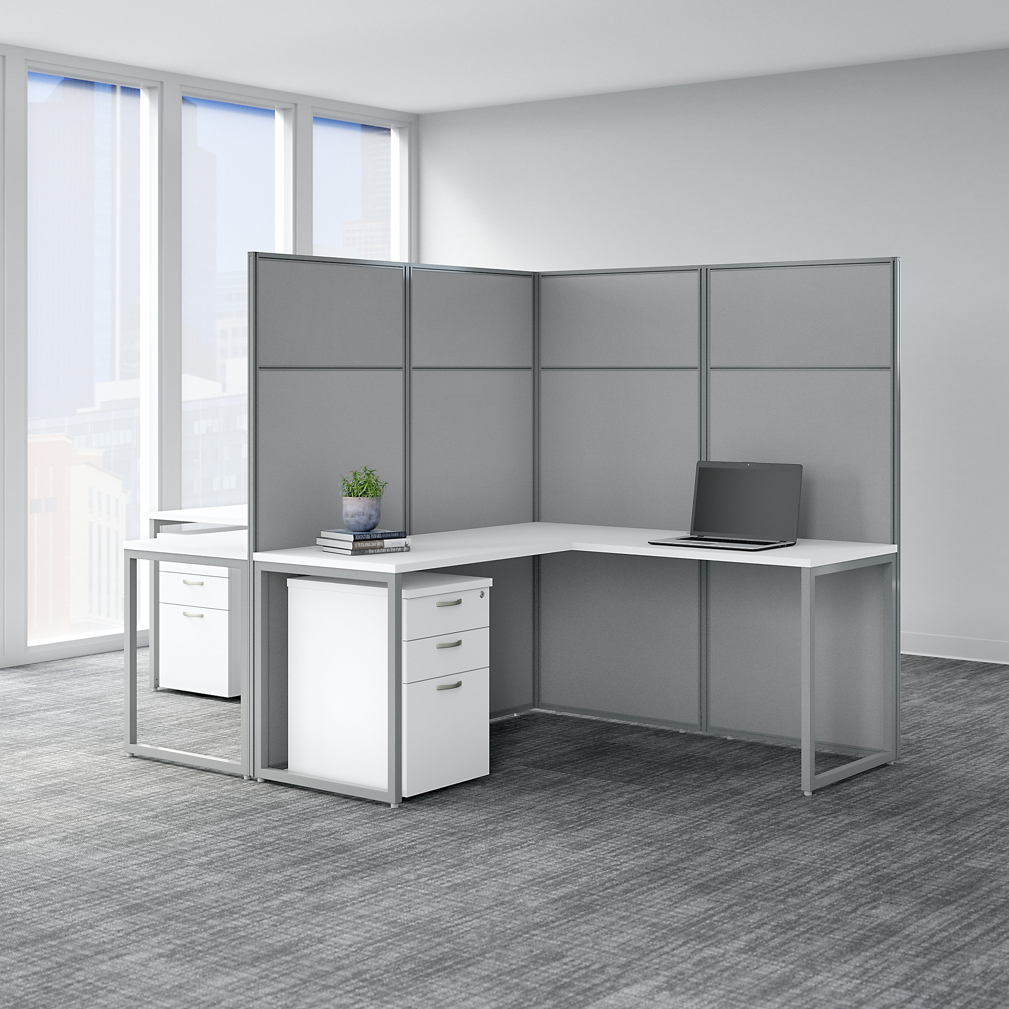 2 person l shaped cubicle workstation in pure white