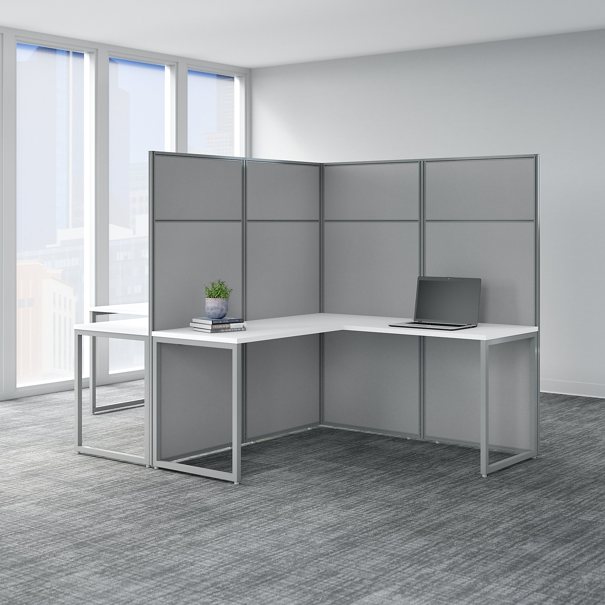 easy office 2 person l shaped cubicle workstation in pure white