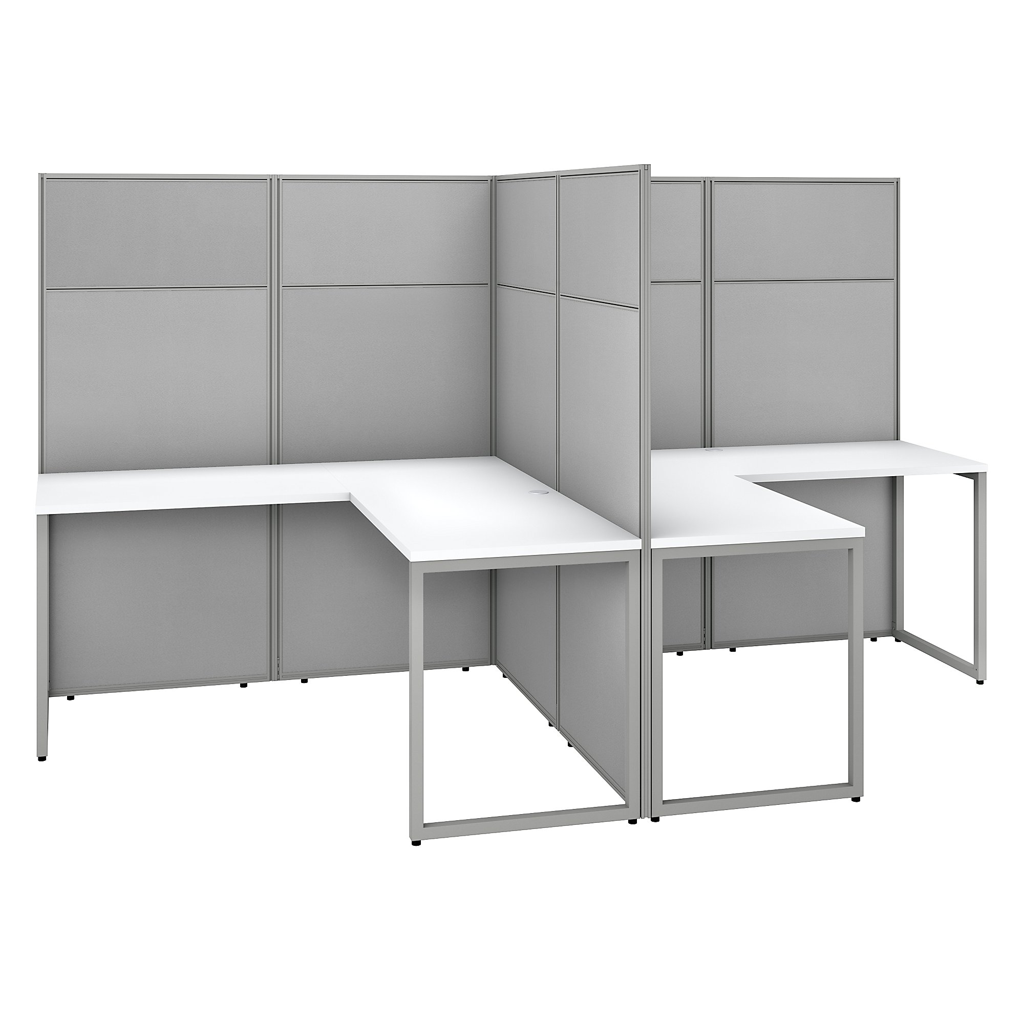 pure white easy office 2 person l shaped cubicle workstation