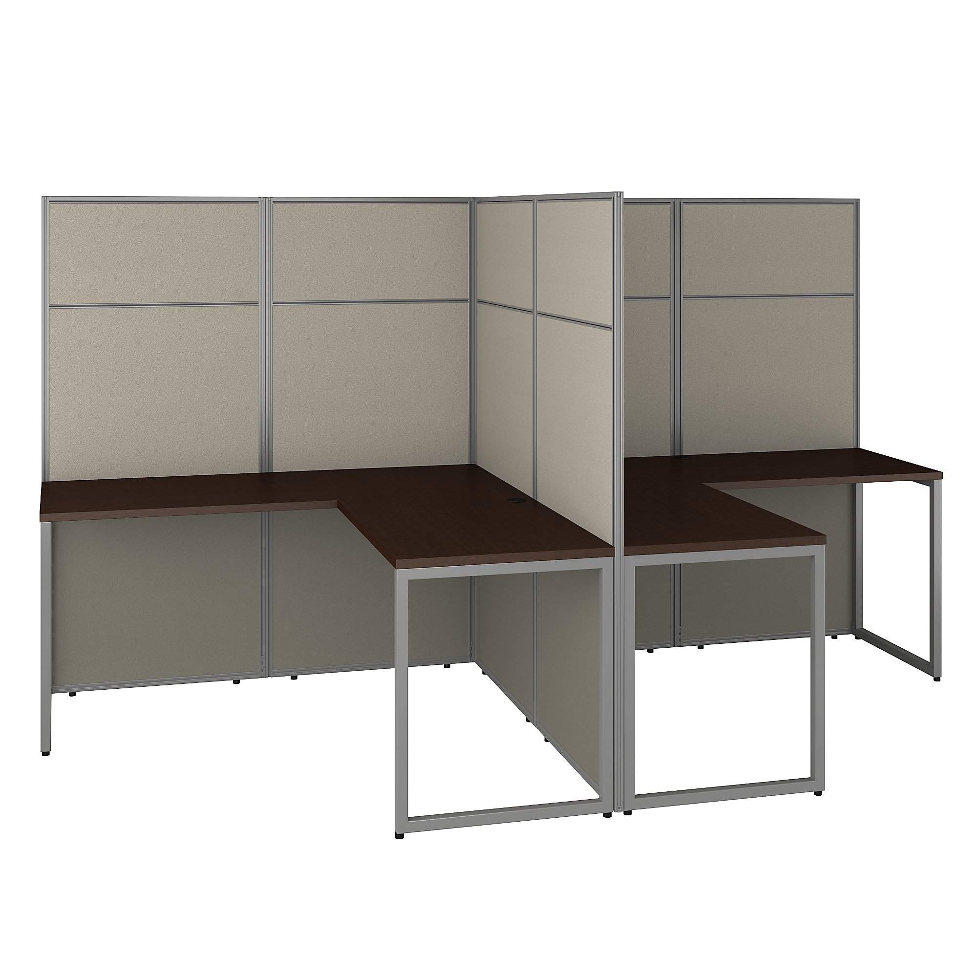 mocha cherry easy office 2 person l shaped cubicle workstation