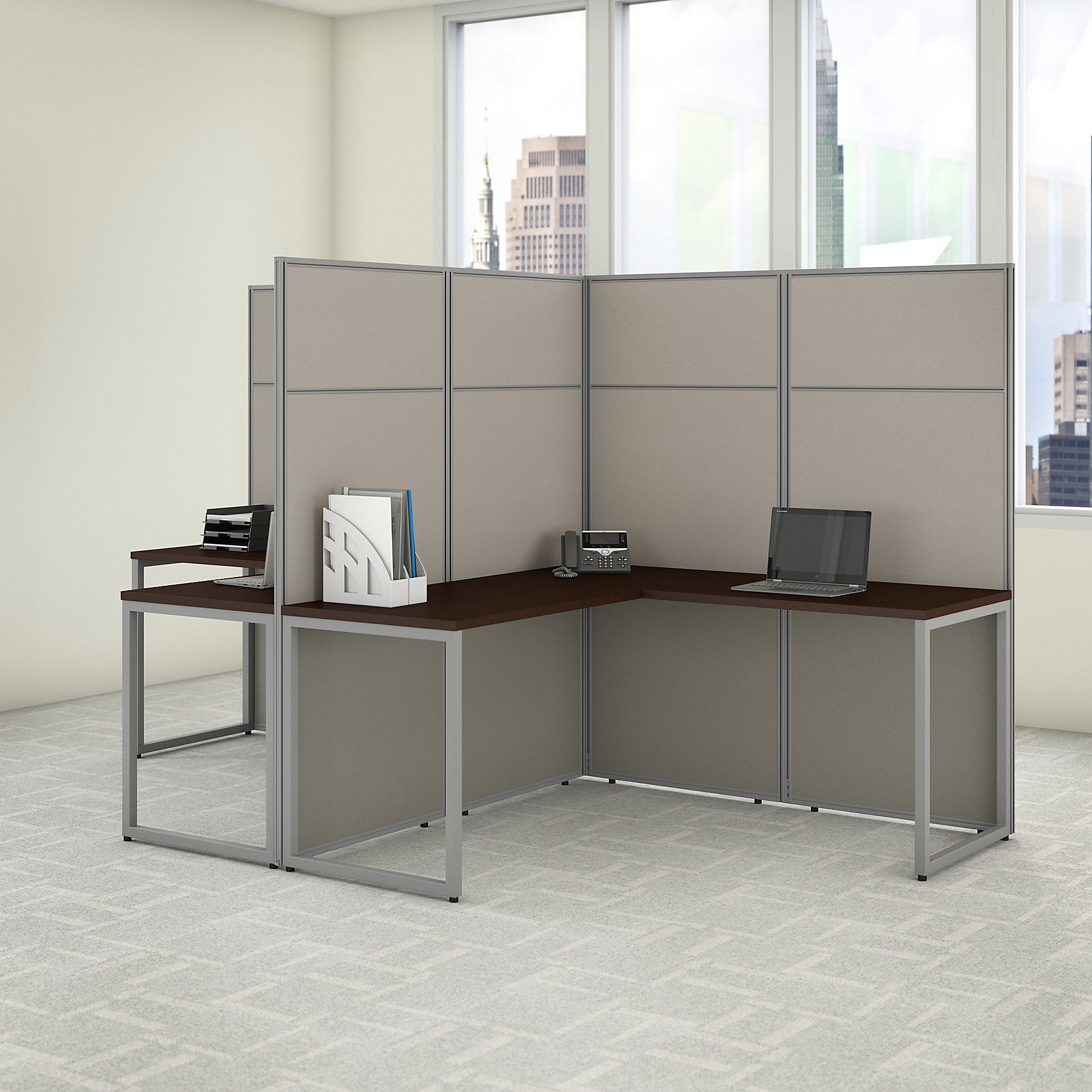 easy office 2 person l shaped cubicle workstation in mocha cherry