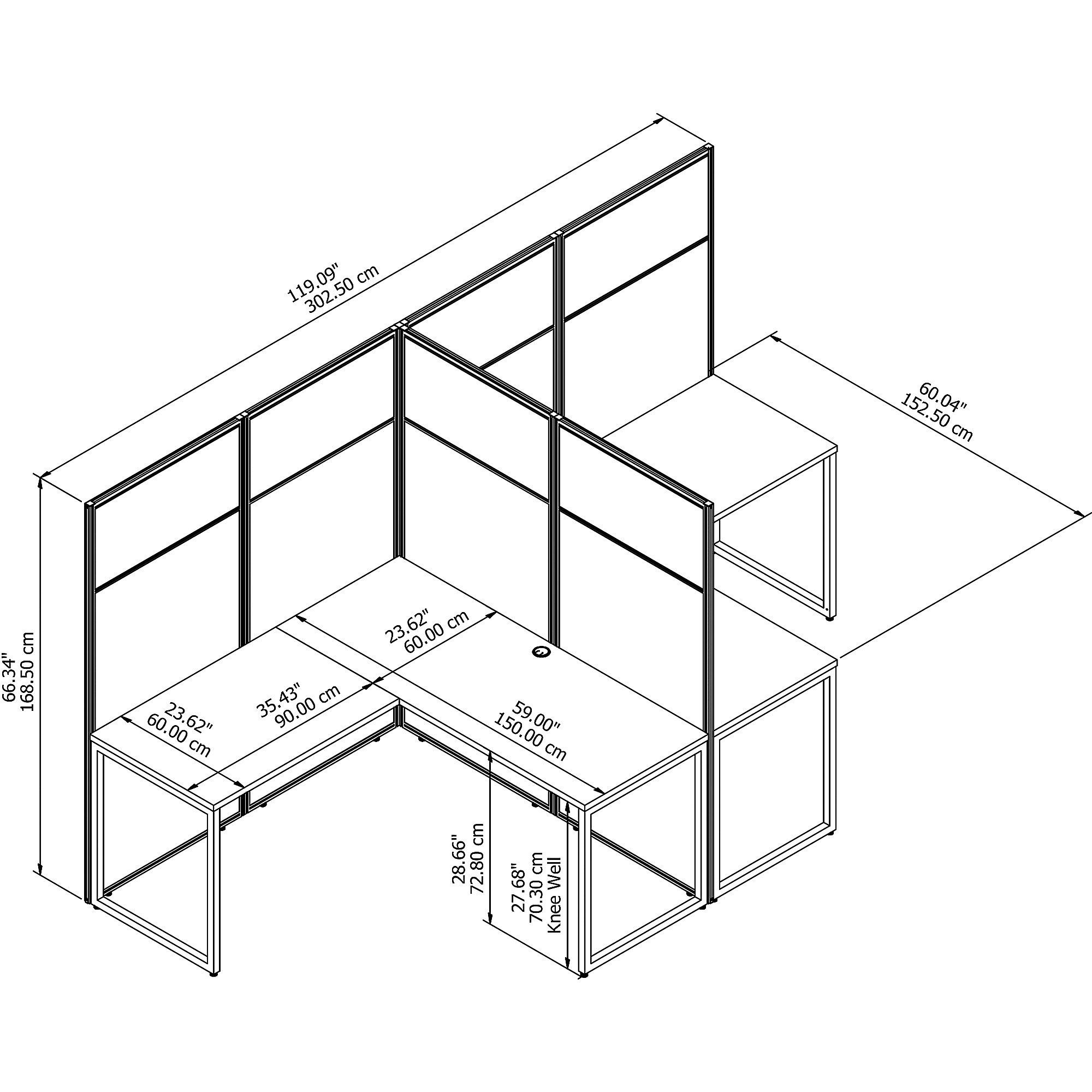 open cubicle desk line drawing