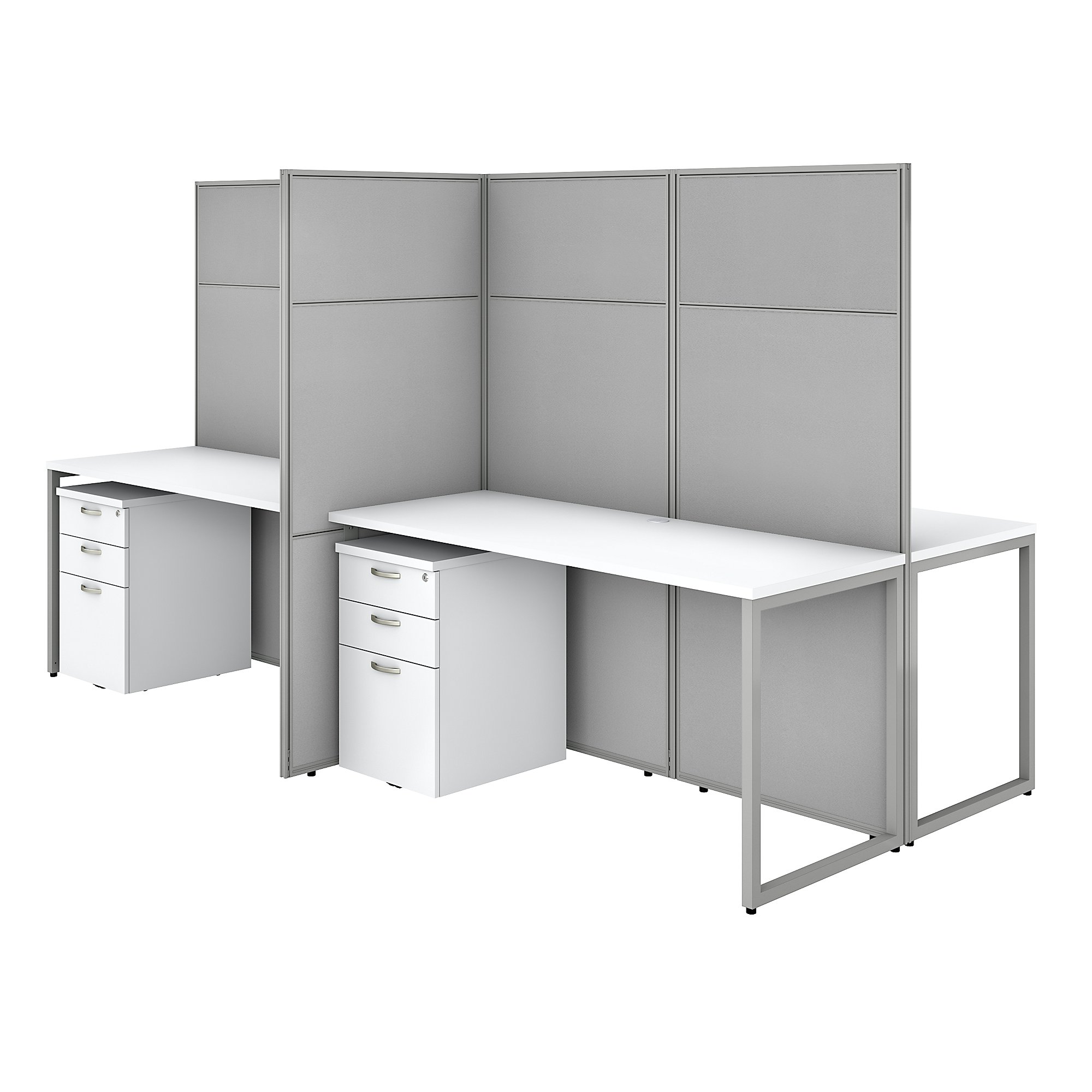 pure white easy office 4 person cubicle with storage