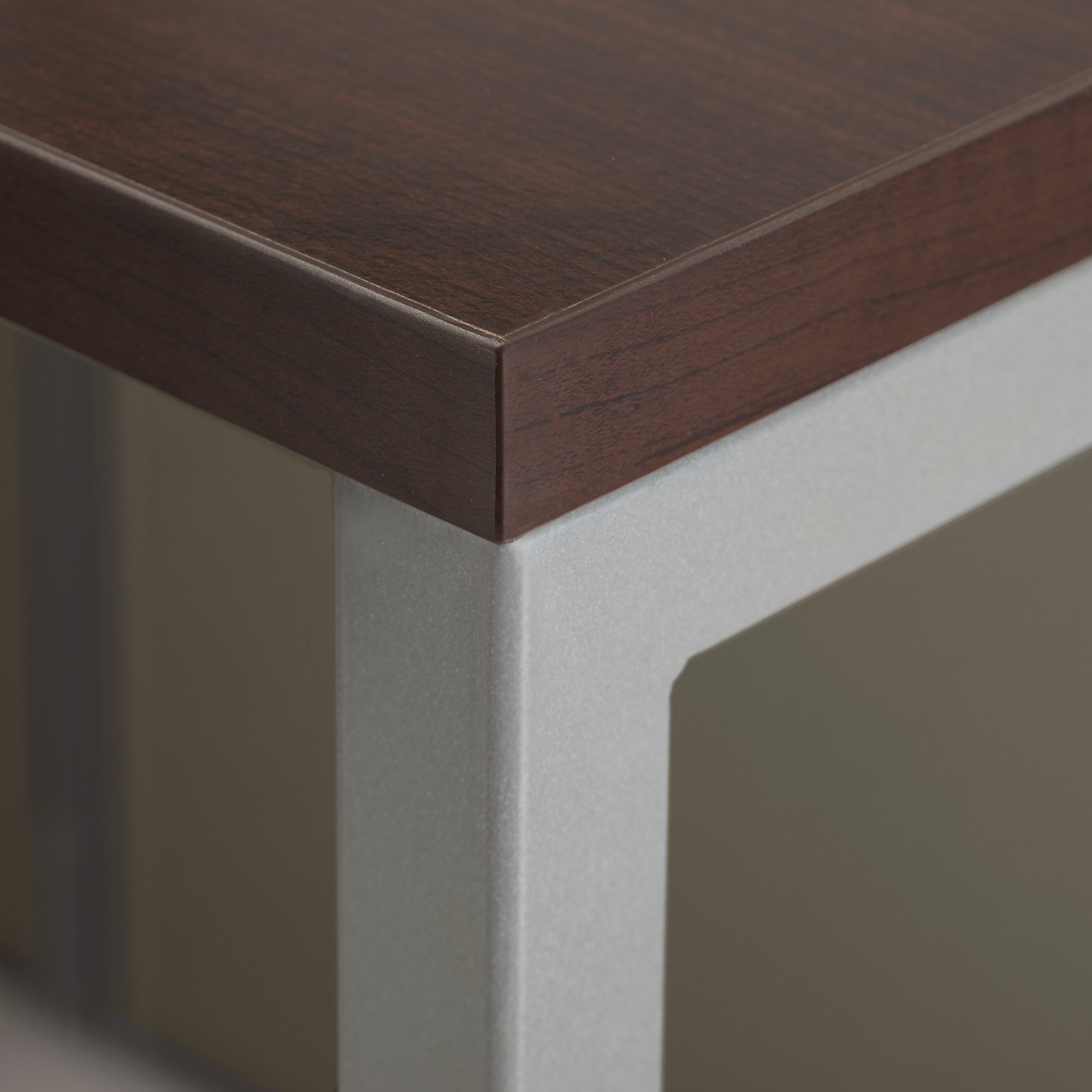 mocha cherry surface with metal frame