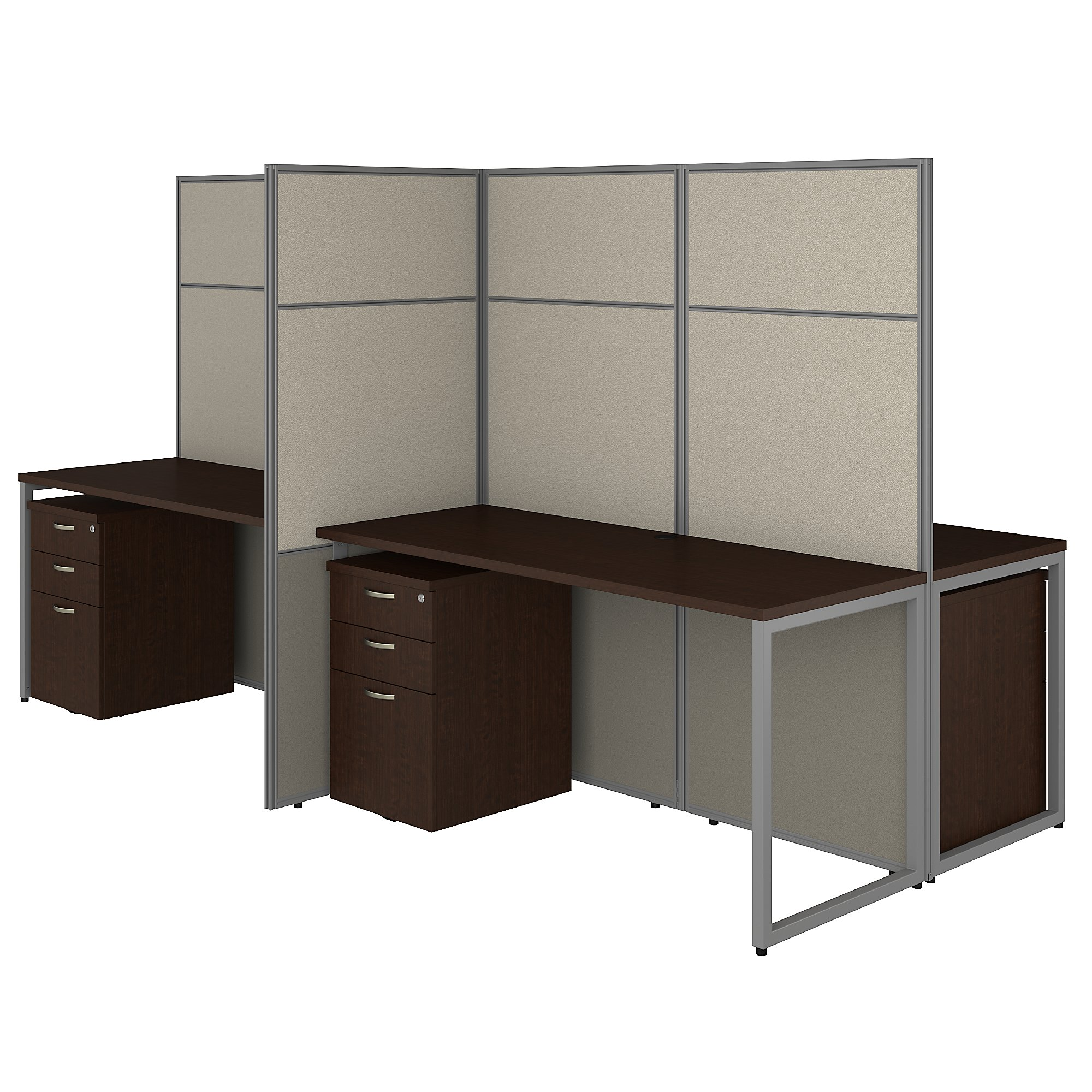 mocha cherry easy office 4 person cubicle with storage