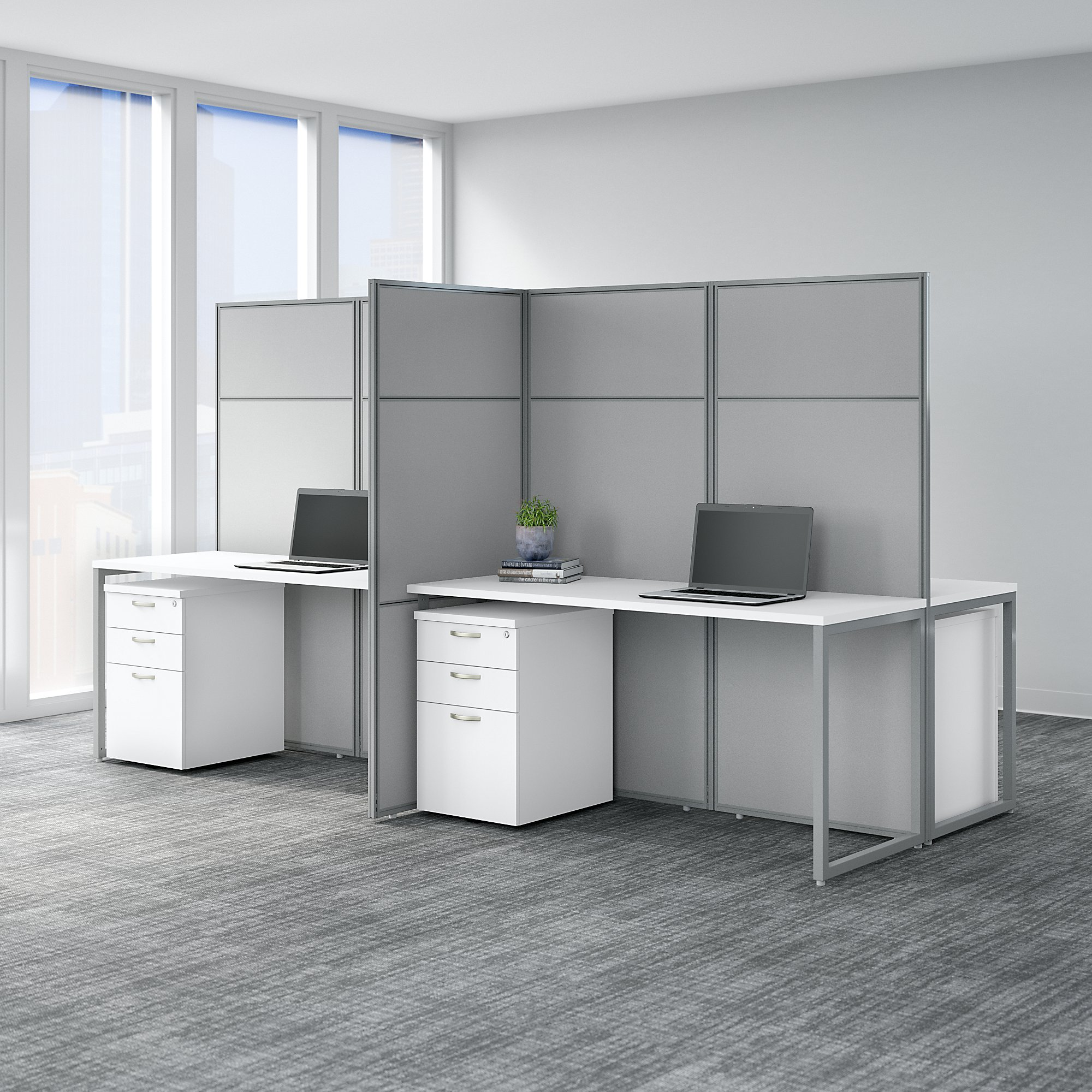 easy office 4 person cubicle with storage in pure white