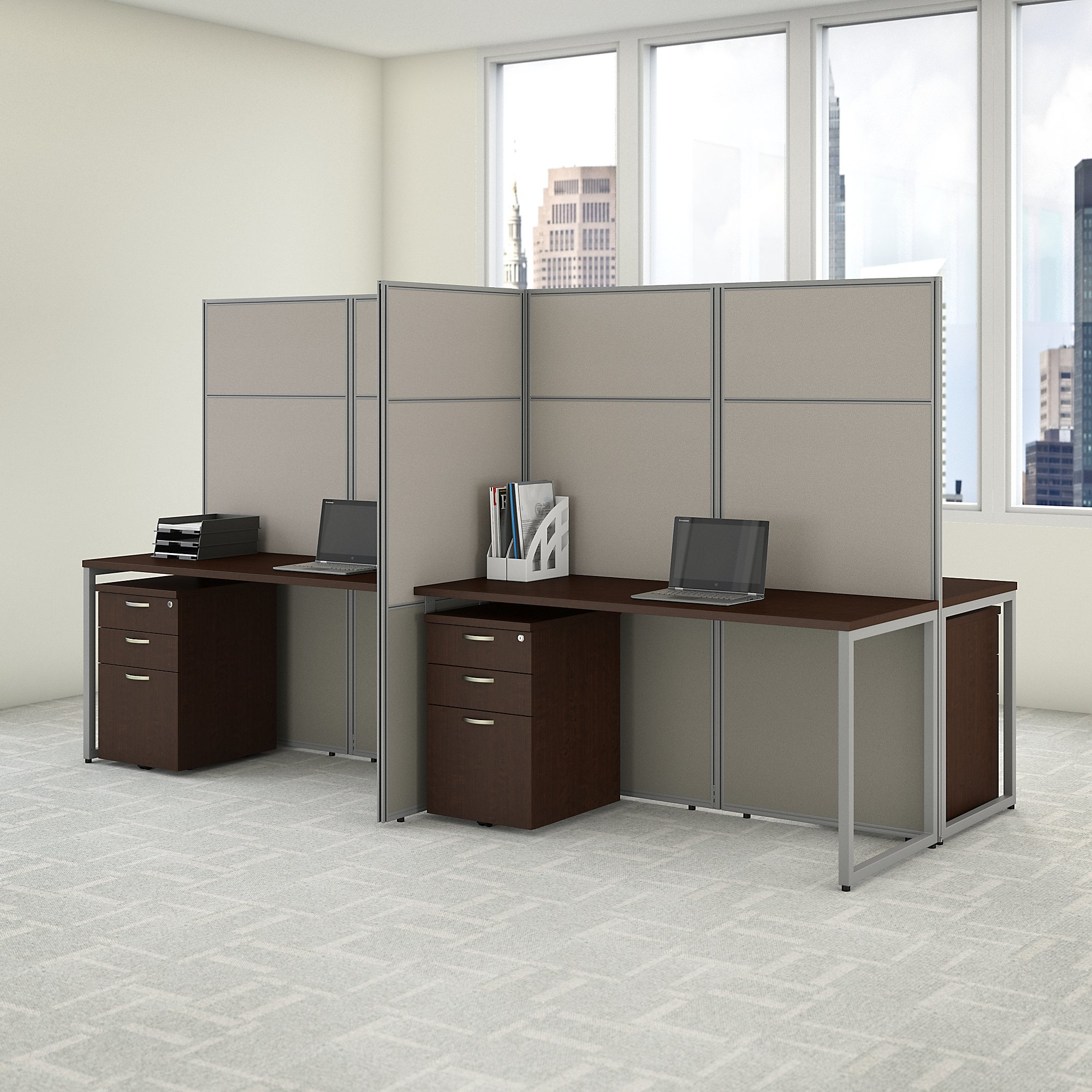 easy office 4 person cubicle with storage in mocha cherry