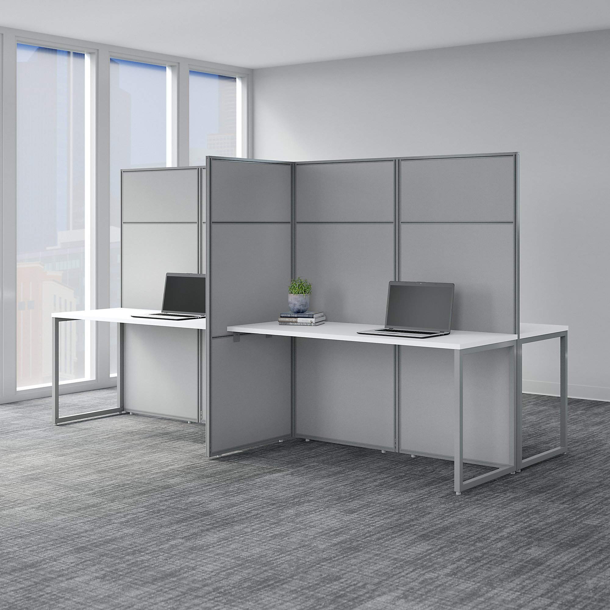easy office 4 person privacy workstation in pure white