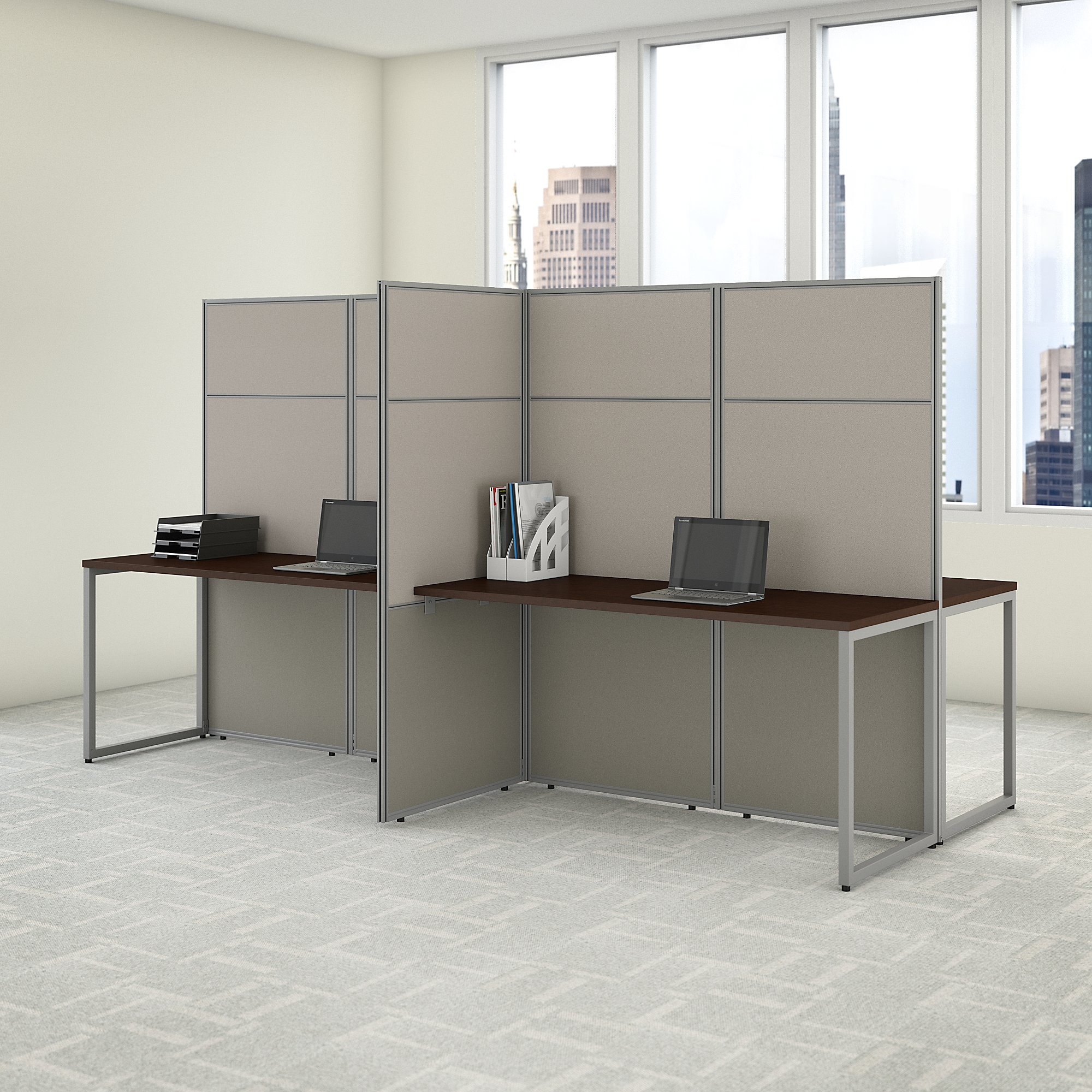easy office 4 person privacy workstation in mocha cherry