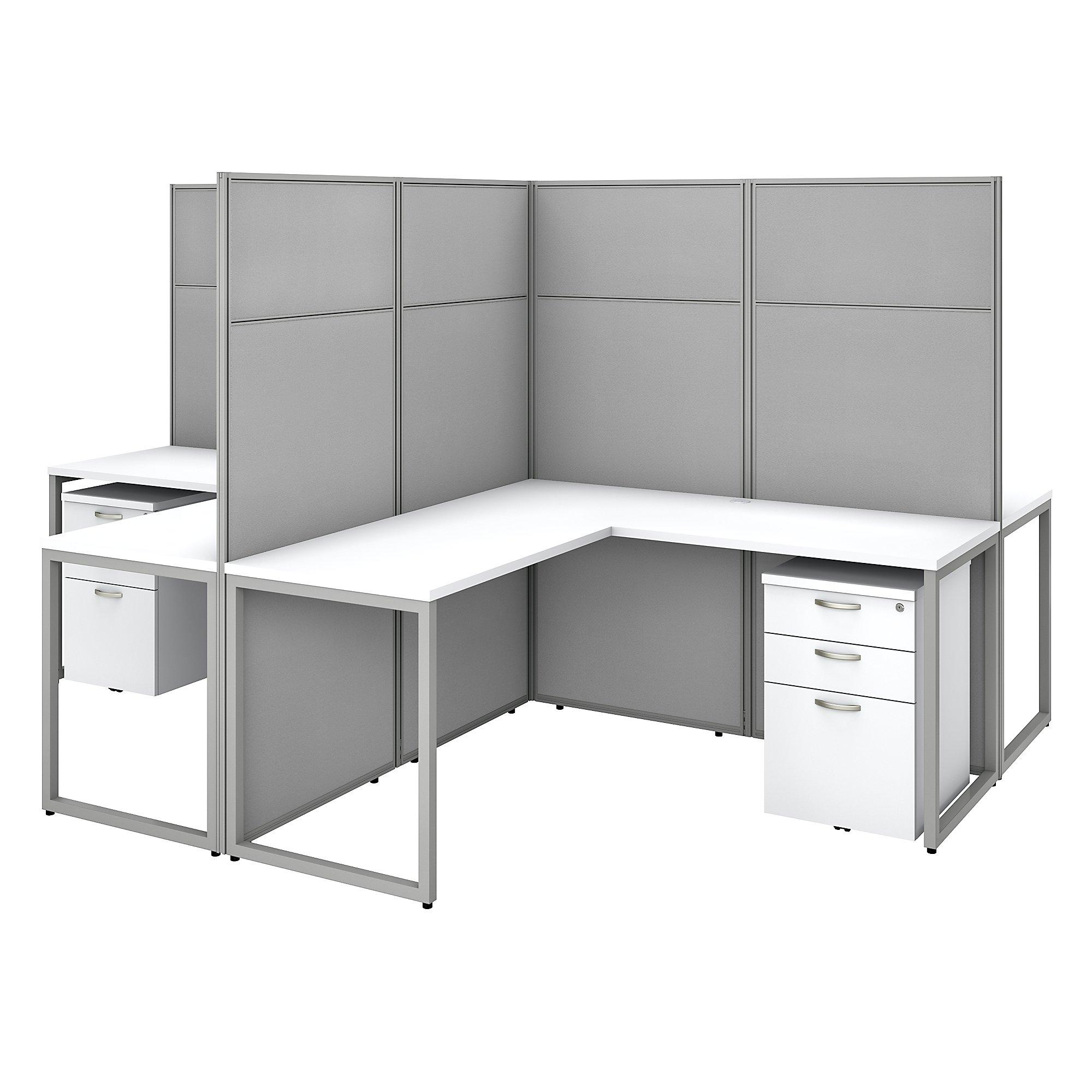 pure white easy office 4 person cluster desk