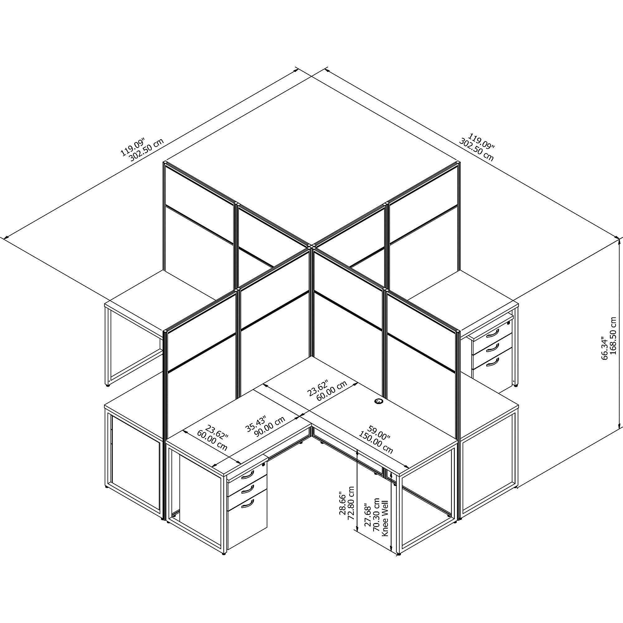 easy office 4 person cluster desk line drawing and dimensions
