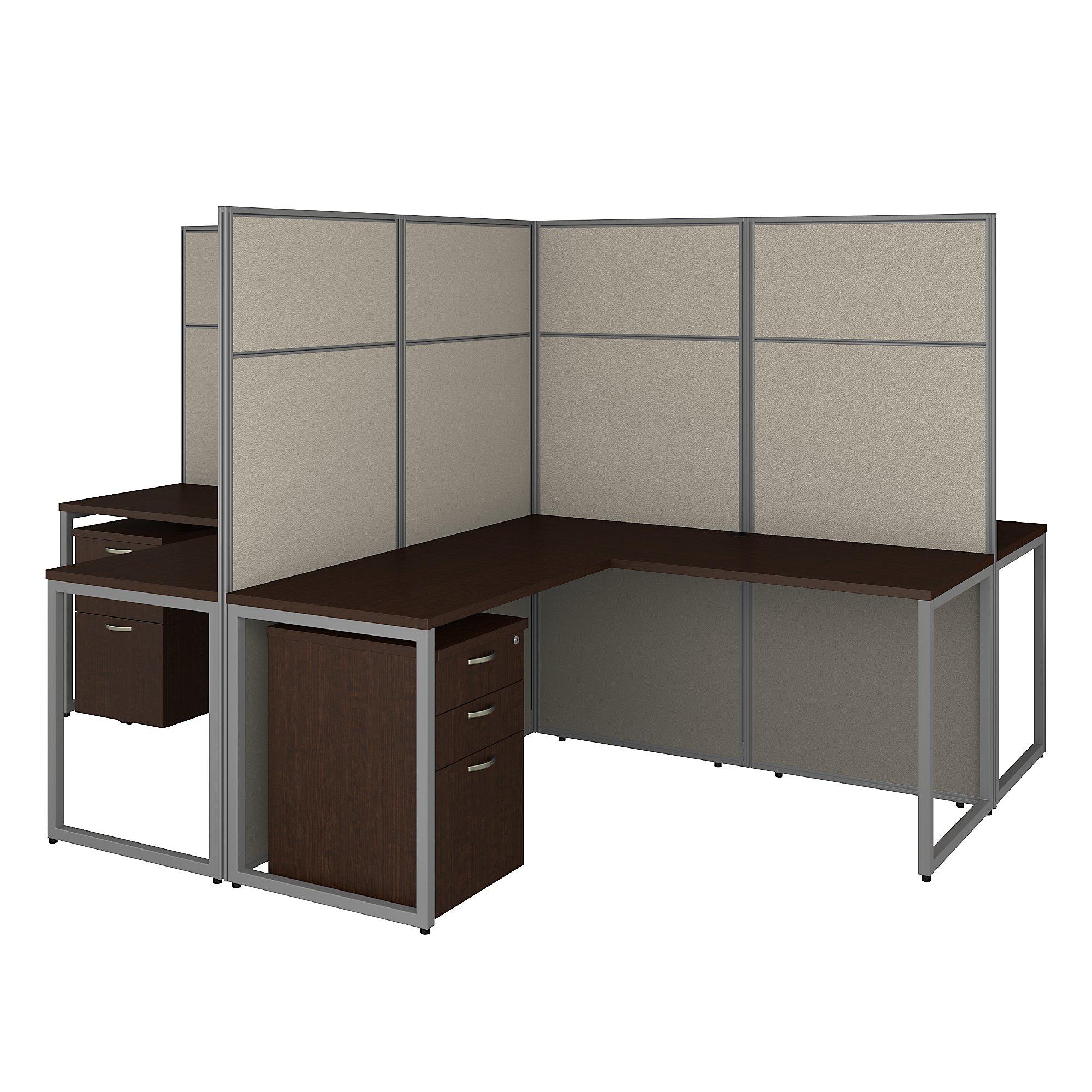 mocha cherry easy office 4 person cluster desk