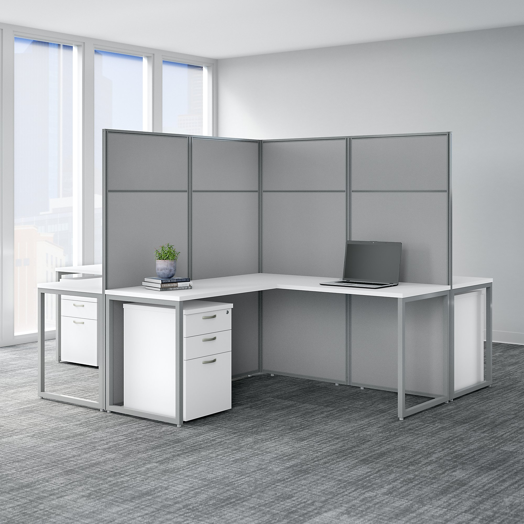 easy office 4 person cluster desk in pure white