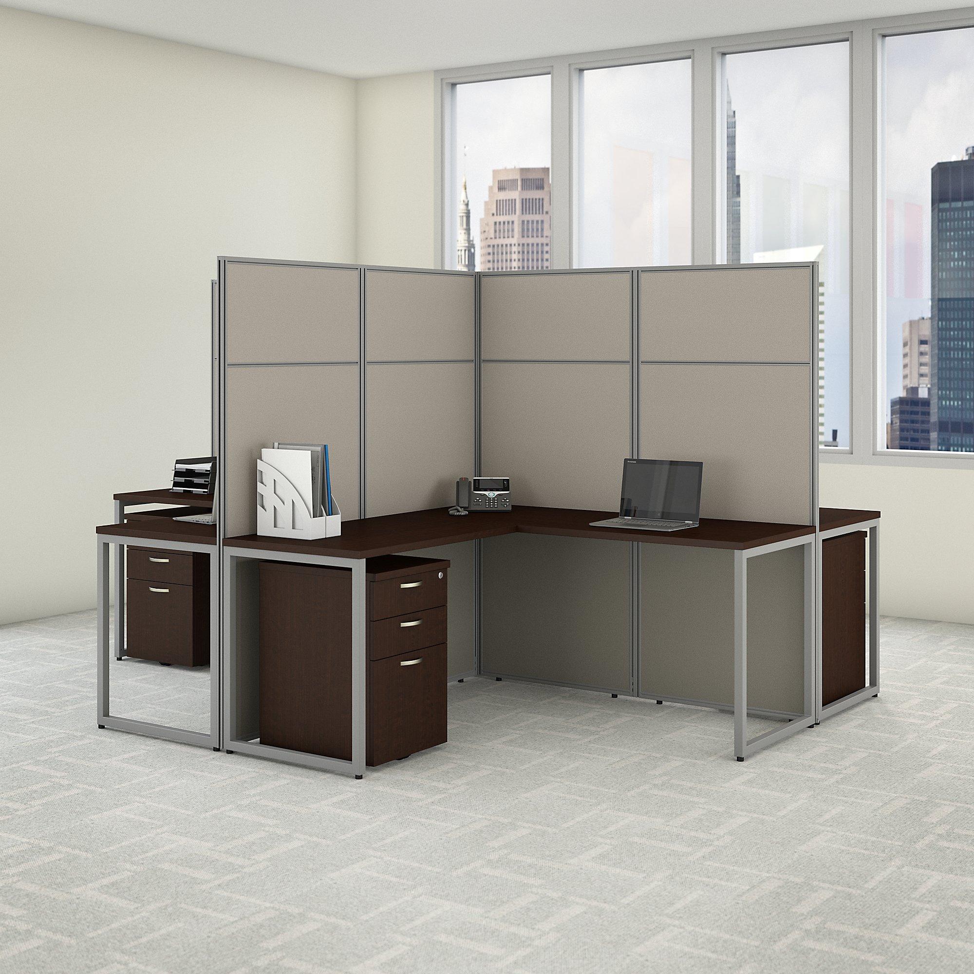 easy office 4 person cluster desk in mocha cherry