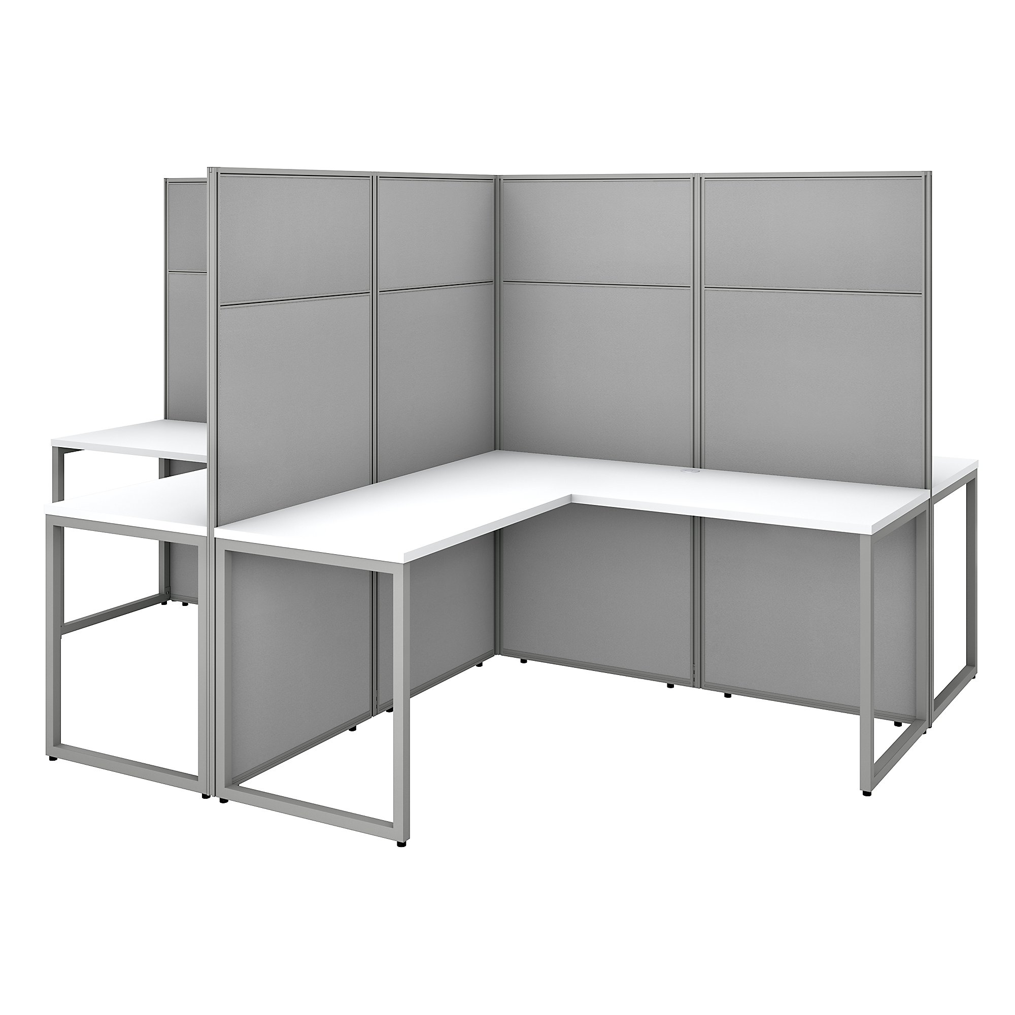 pure white easy office 4 person cubicle configuration