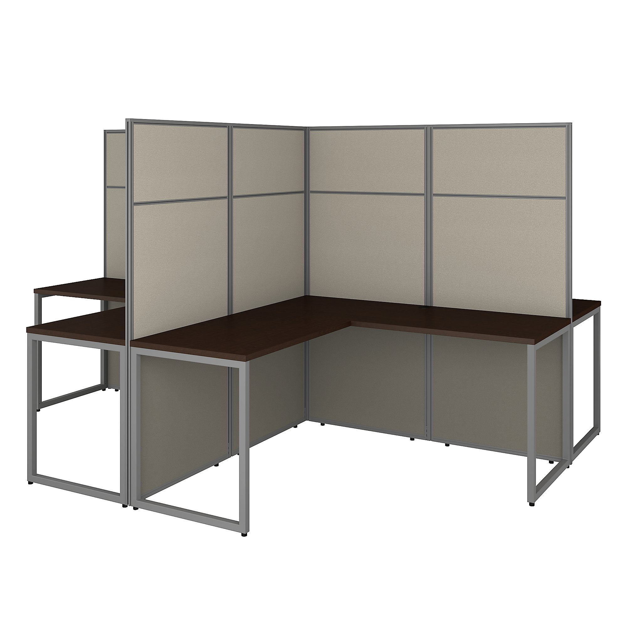 mocha cherry easy office 4 person cubicle configuration