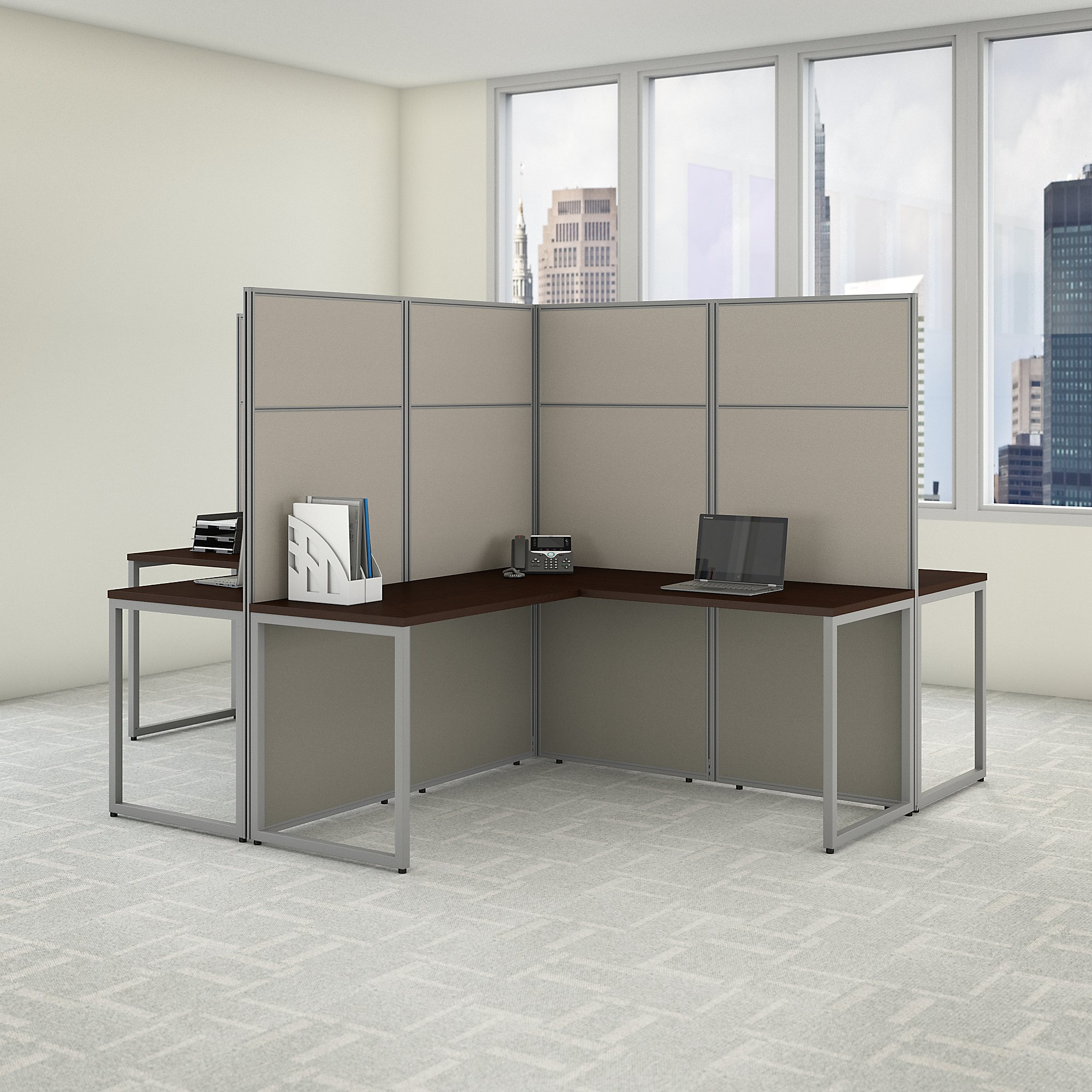 easy office 4 person cubicle configuration in mocha cherry